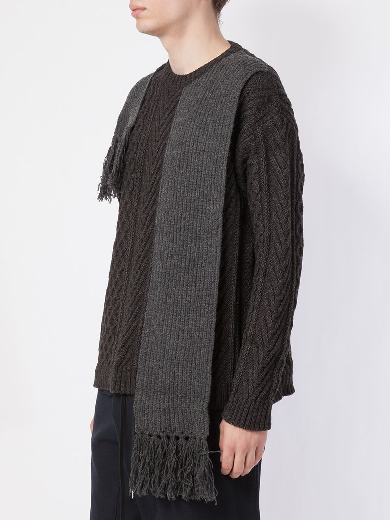 Miharayasuhiro Scarf Detail Aran Knit Sweater in Black for ...