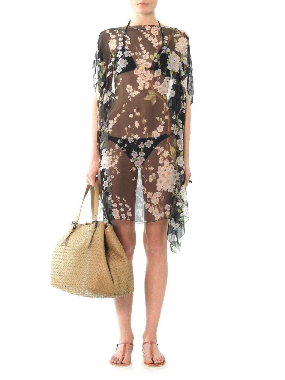 Dolce Amp Gabbana Mimosa Print Chiffon Cover Up In Black Lyst
