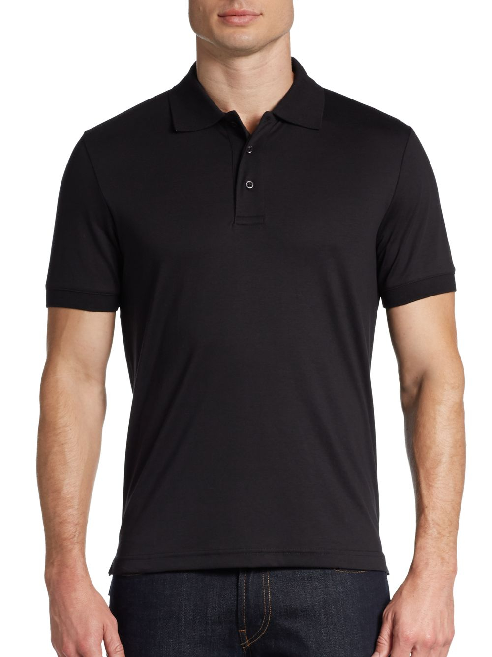 Saks fifth avenue black label slim fit ice cotton polo for Black fitted polo shirt