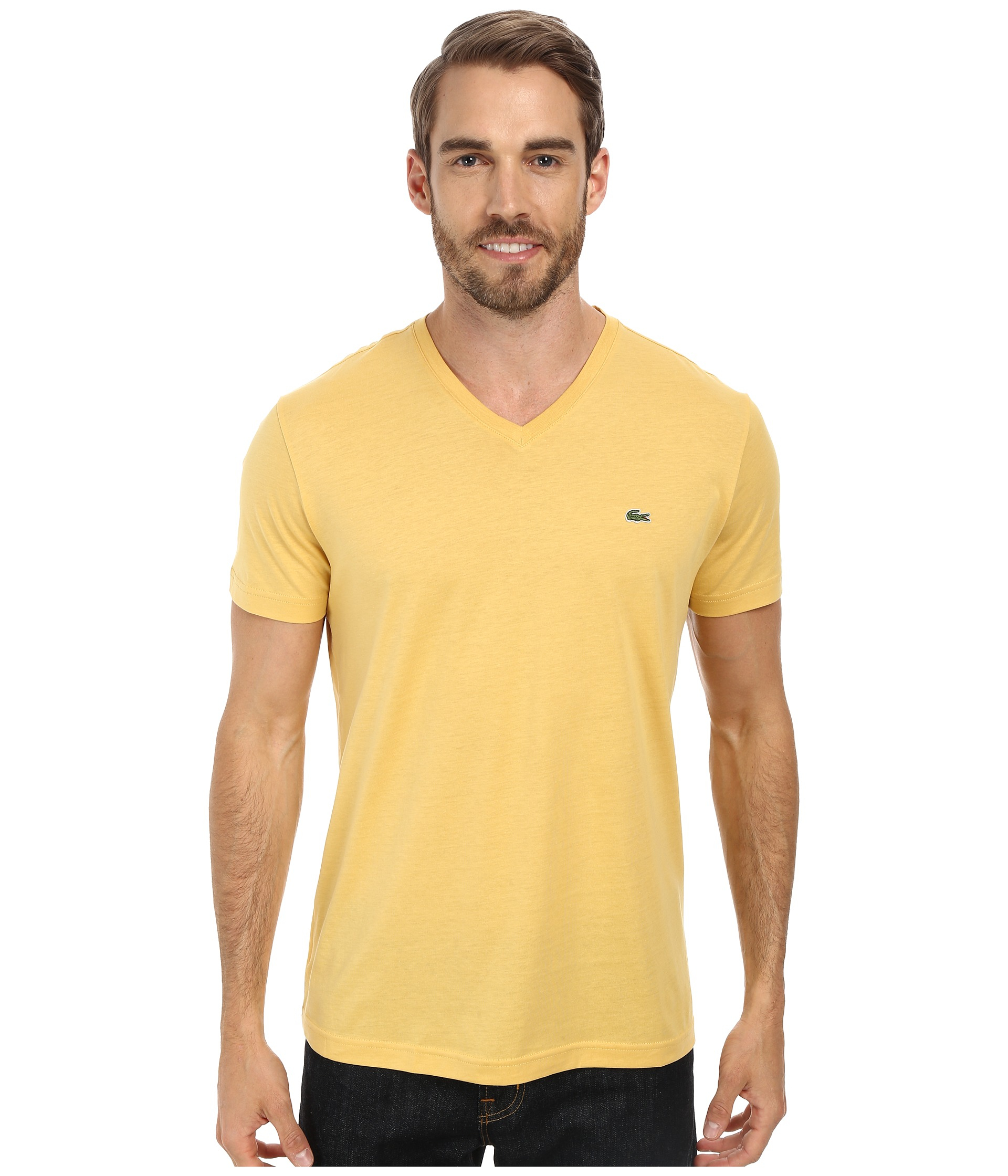 a6166707 Lacoste S/S Pima Jersey V-Neck T-Shirt in Yellow - Lyst