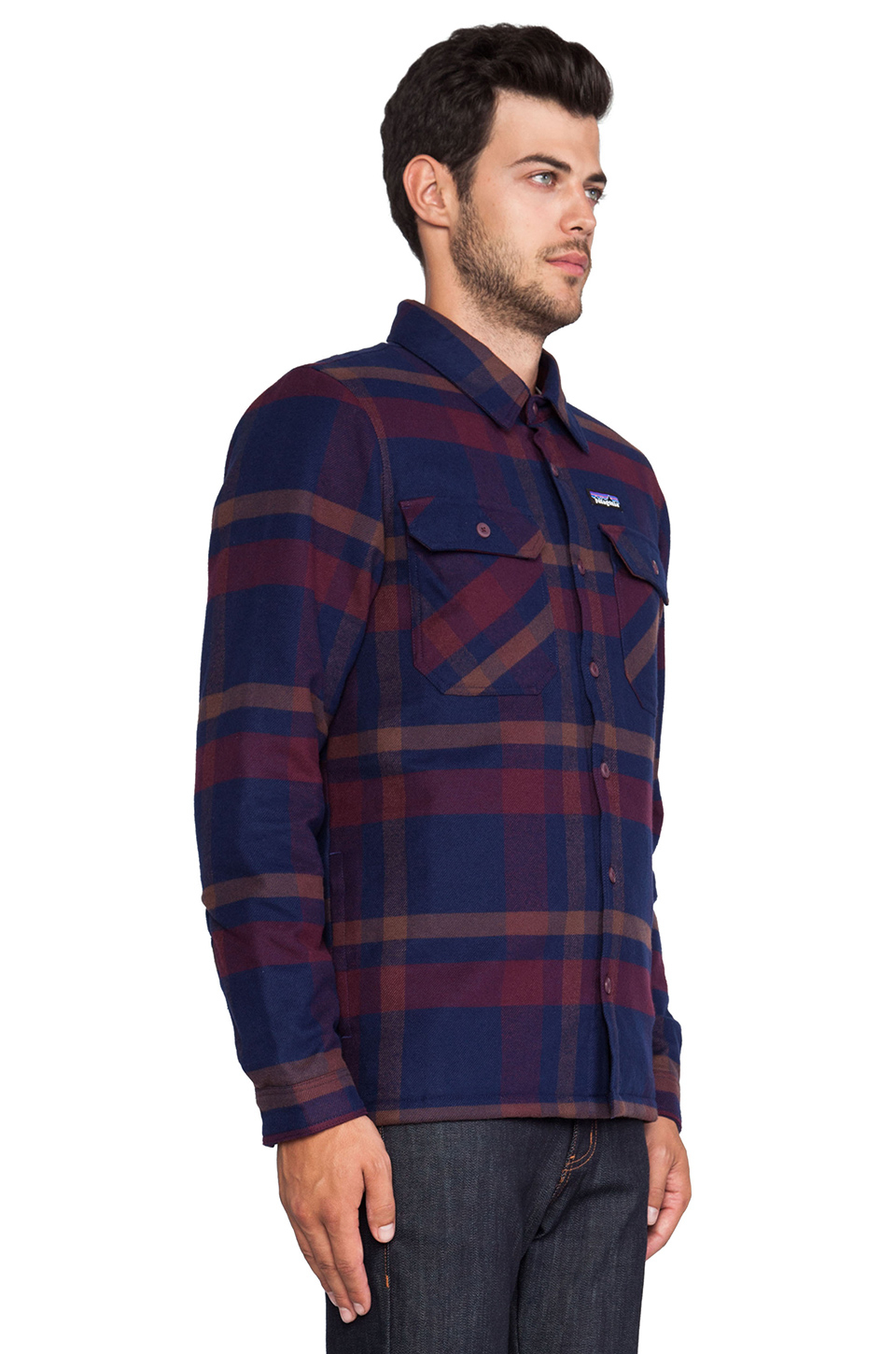 Patagonia Insulated Fjord Flannel Jacket In Purple For Men
