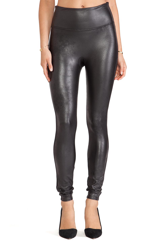 spanx faux leather leggings in black lyst