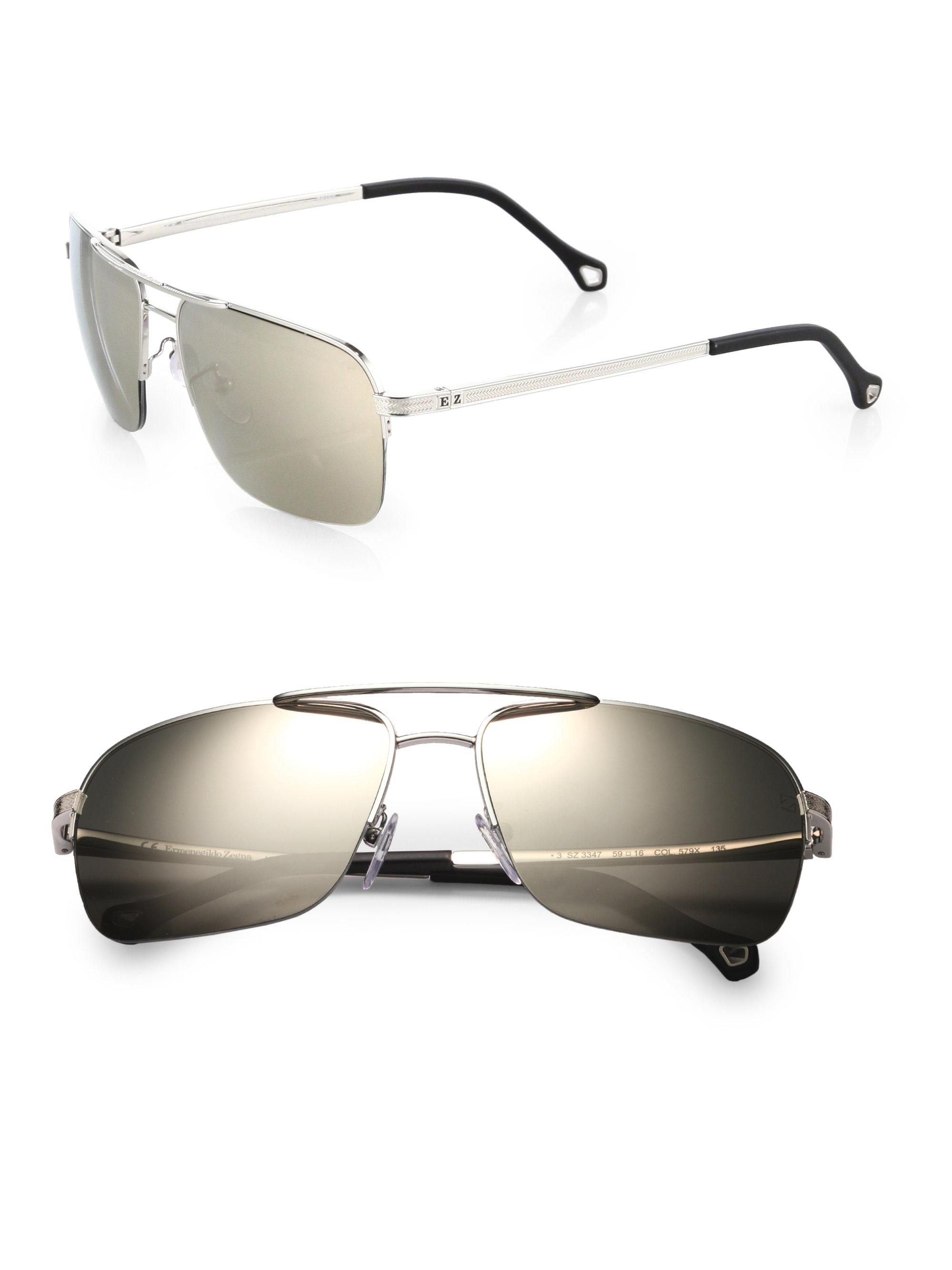 741908a584 Lyst - Ermenegildo Zegna Rimless Metal Navigator Sunglasses in Metallic for  Men
