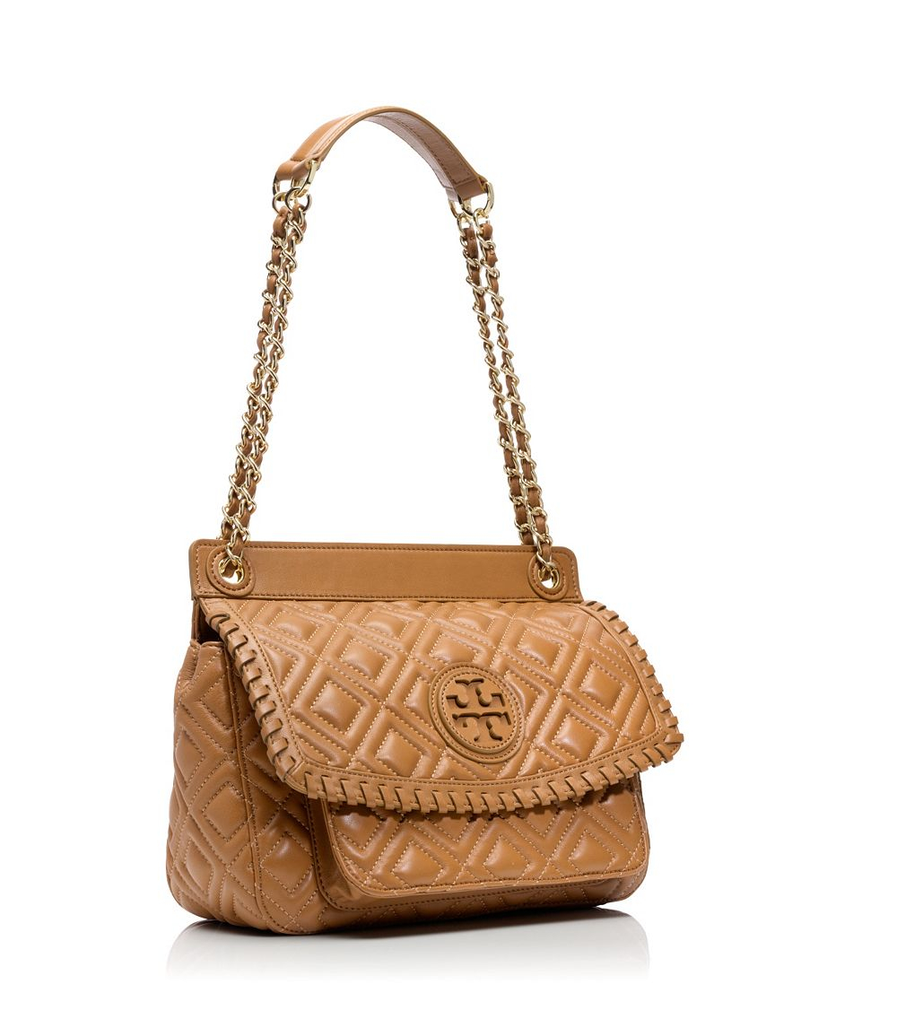 e8b0c39452a6 Lyst Tory Burch Marion Quilted Small Shoulder Bag In Brown. Preloved Tory  Burch Marion Quilted Saddlebag Luxury ...