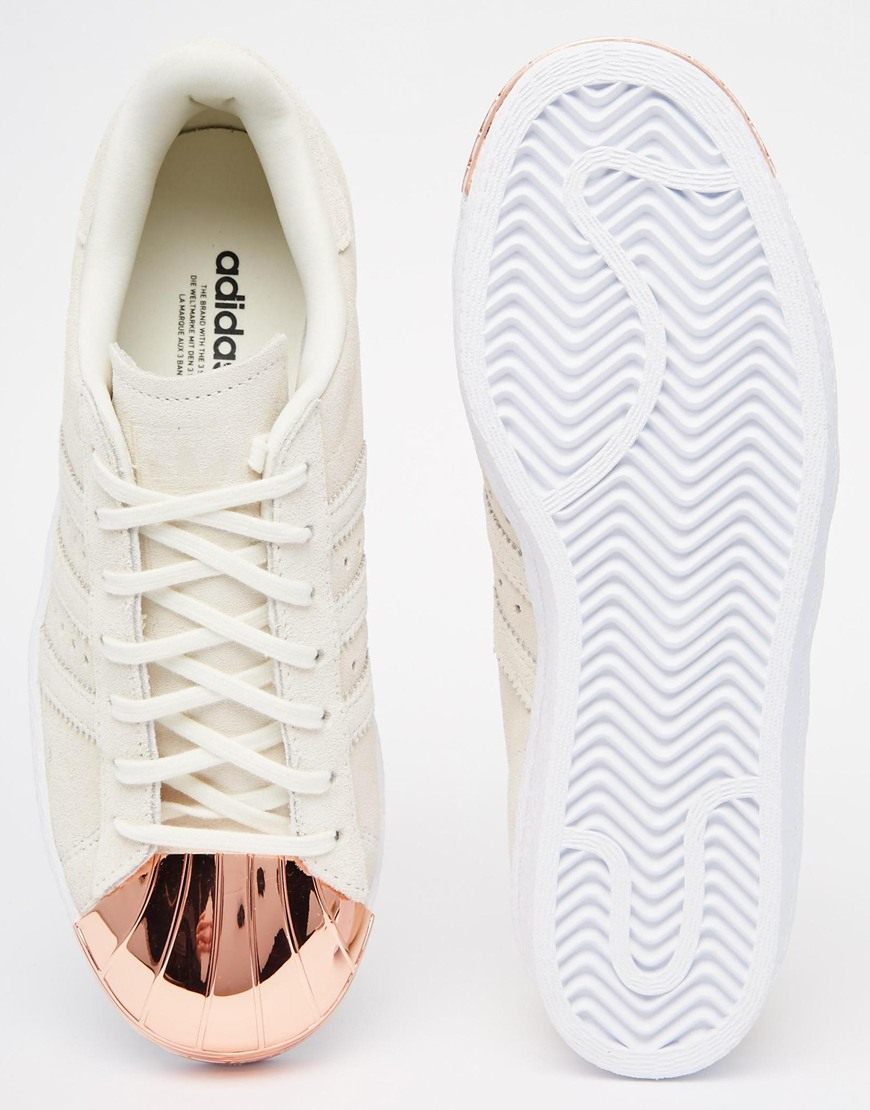 Adidas Superstar 80s Rose Gold Metallic White Leather