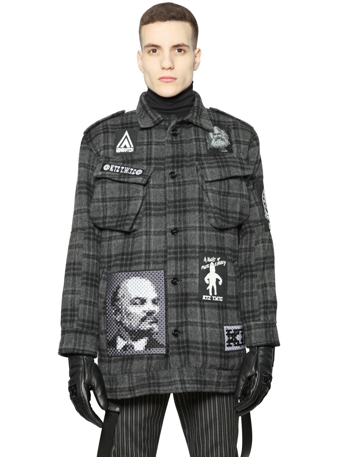 Ktz Plaid Brushed Wool Military Coat in Gray for Men | Lyst