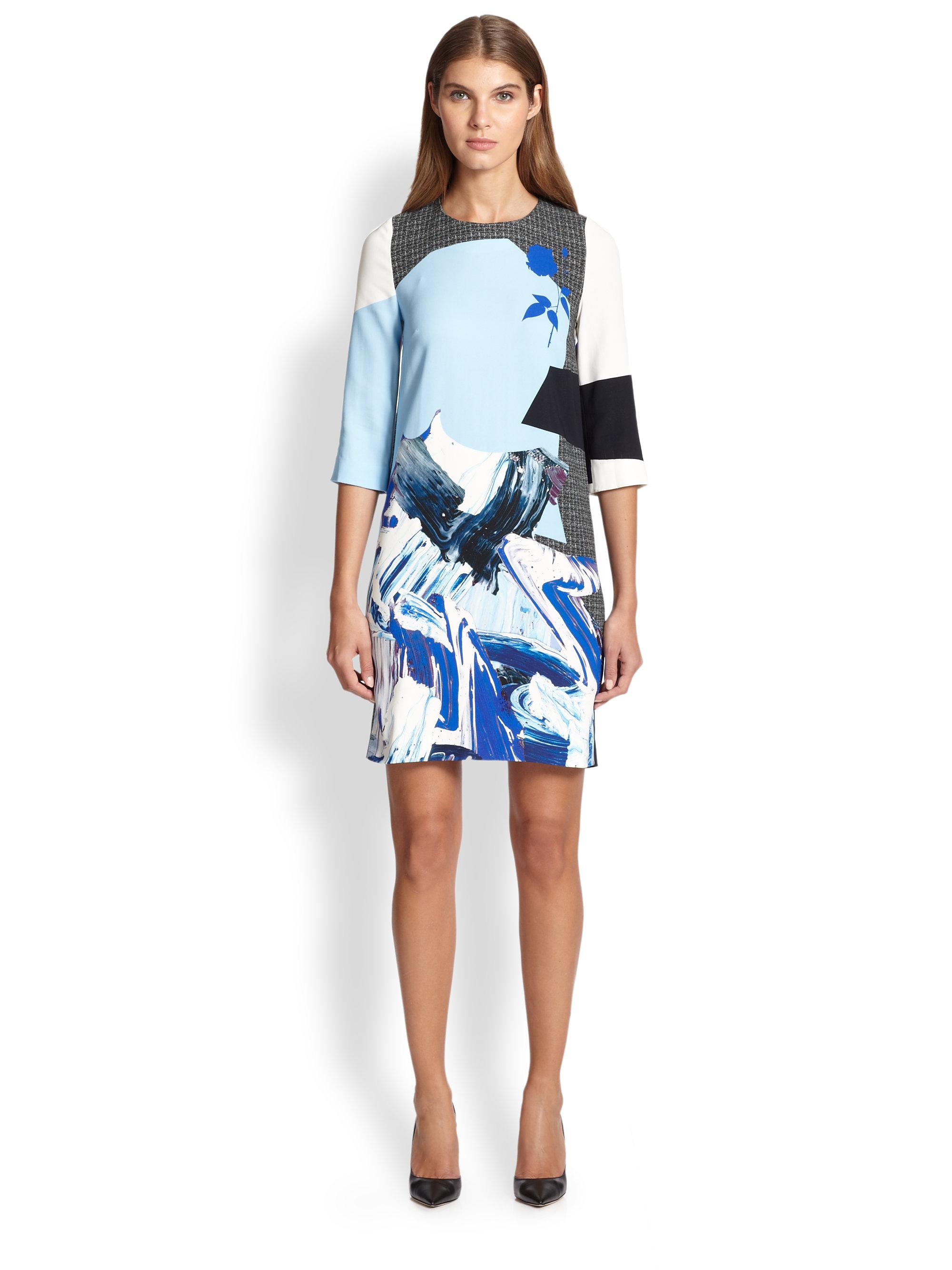 Prabal gurung Abstract-Print Shift Dress in Blue | Lyst