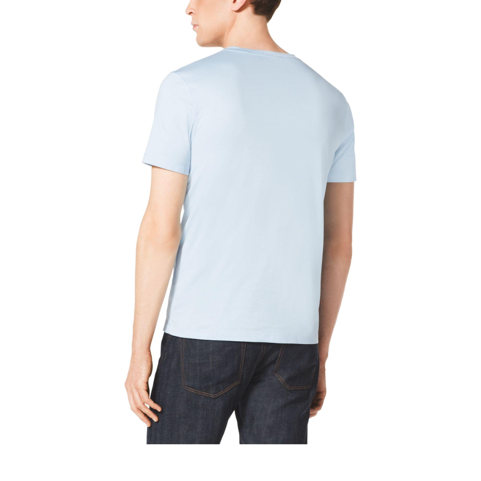 michael kors cotton jersey v neck t shirt in blue for men. Black Bedroom Furniture Sets. Home Design Ideas