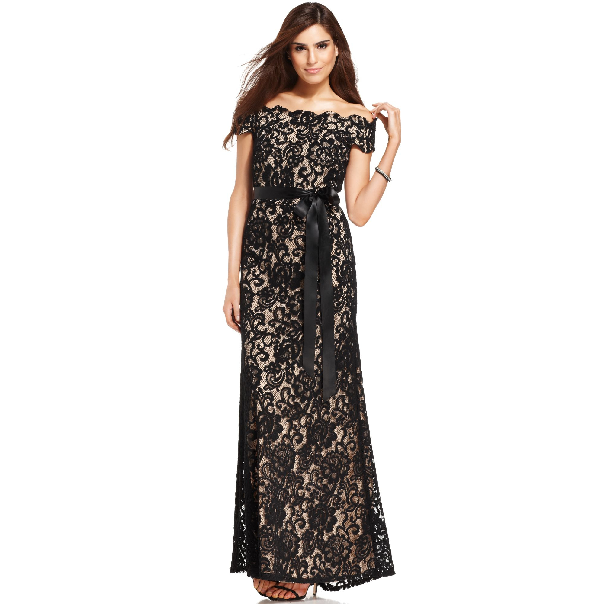 Betsy Amp Adam Off Shoulder Lace Gown In Black Lyst