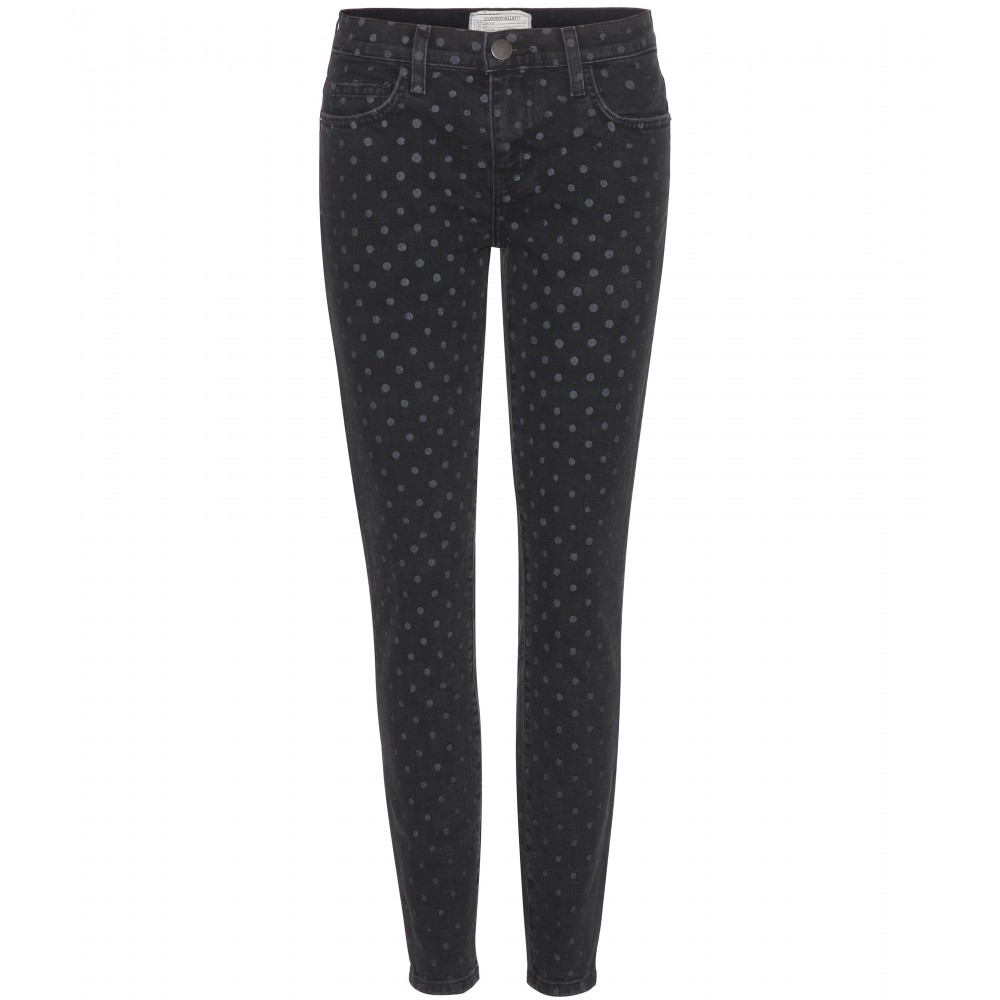 Current/elliott Polka-dot Skinny Jeans in Black | Lyst