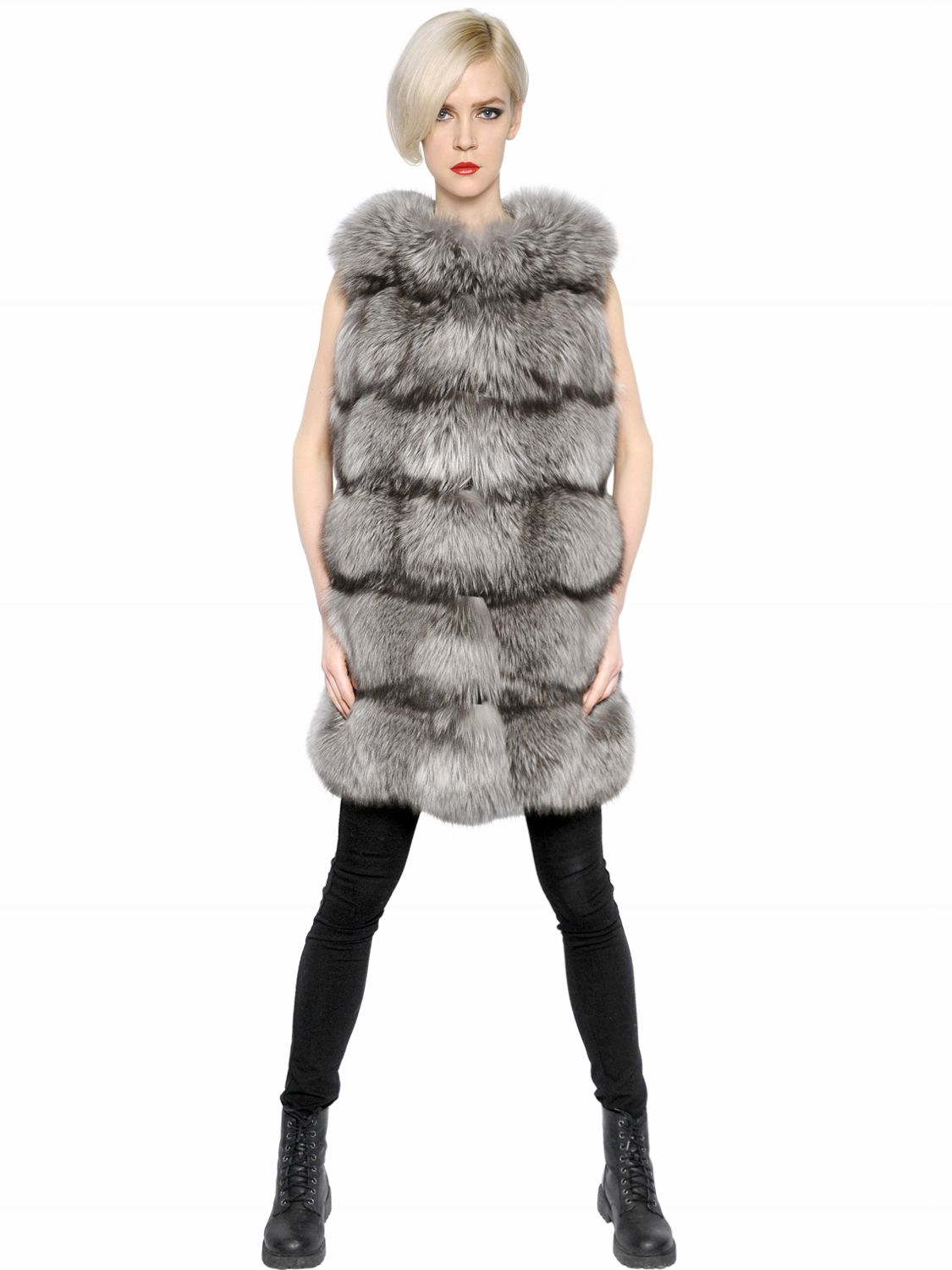 Lyst - Yves Salomon Fox   Goat Fur Vest in Gray af1336cf4a48