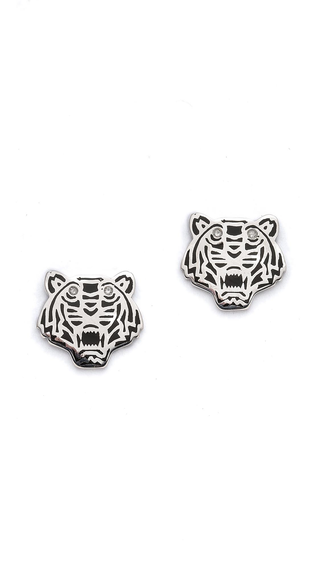 kenzo mini tiger earrings silver in metallic lyst