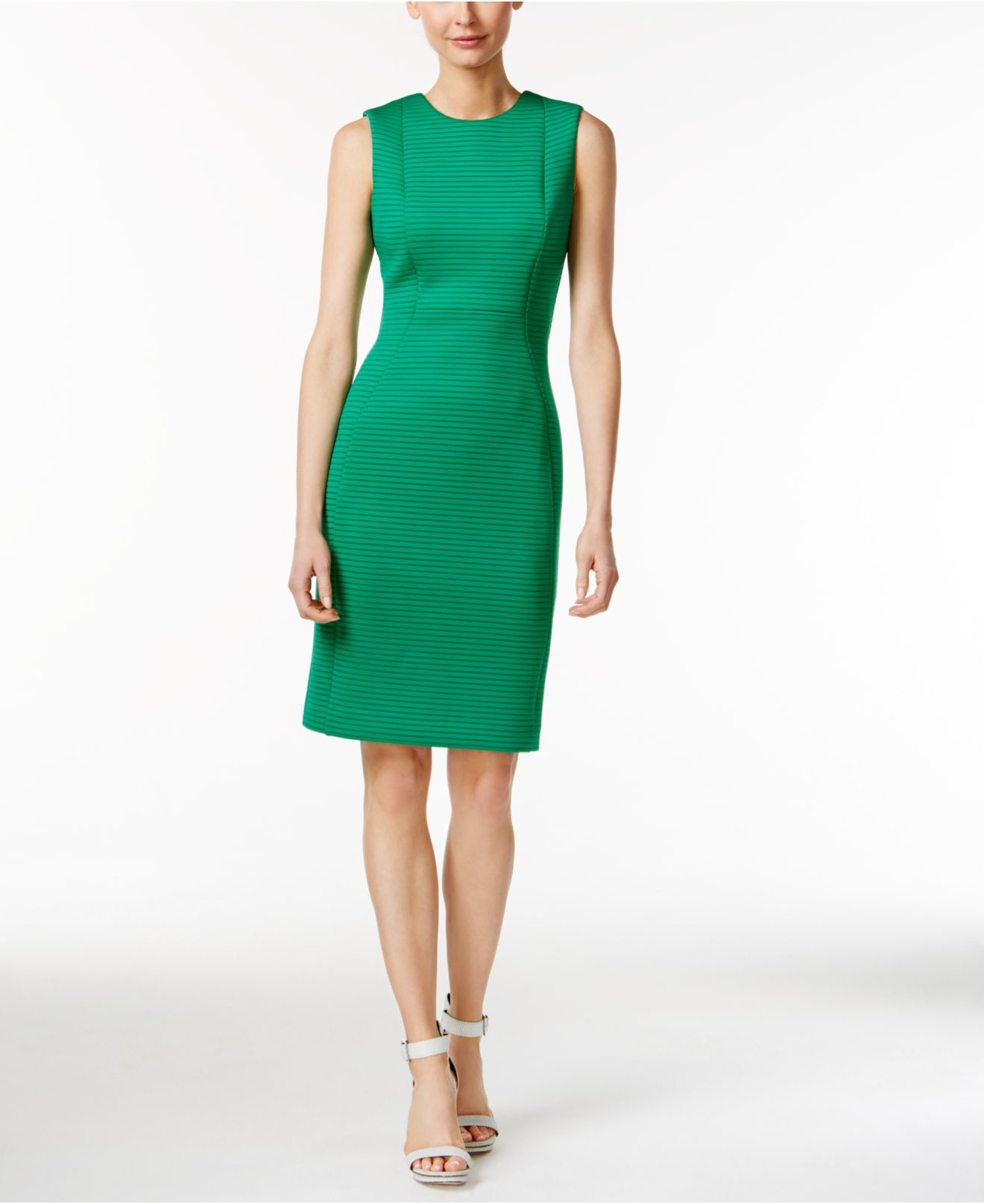 08540113adf Calvin Klein Sleeveless Striped Sheath Dress in Green - Lyst