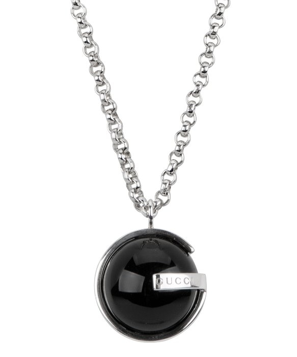 Lyst gucci womens sterling silver necklace black onyx pendant in gallery aloadofball Image collections