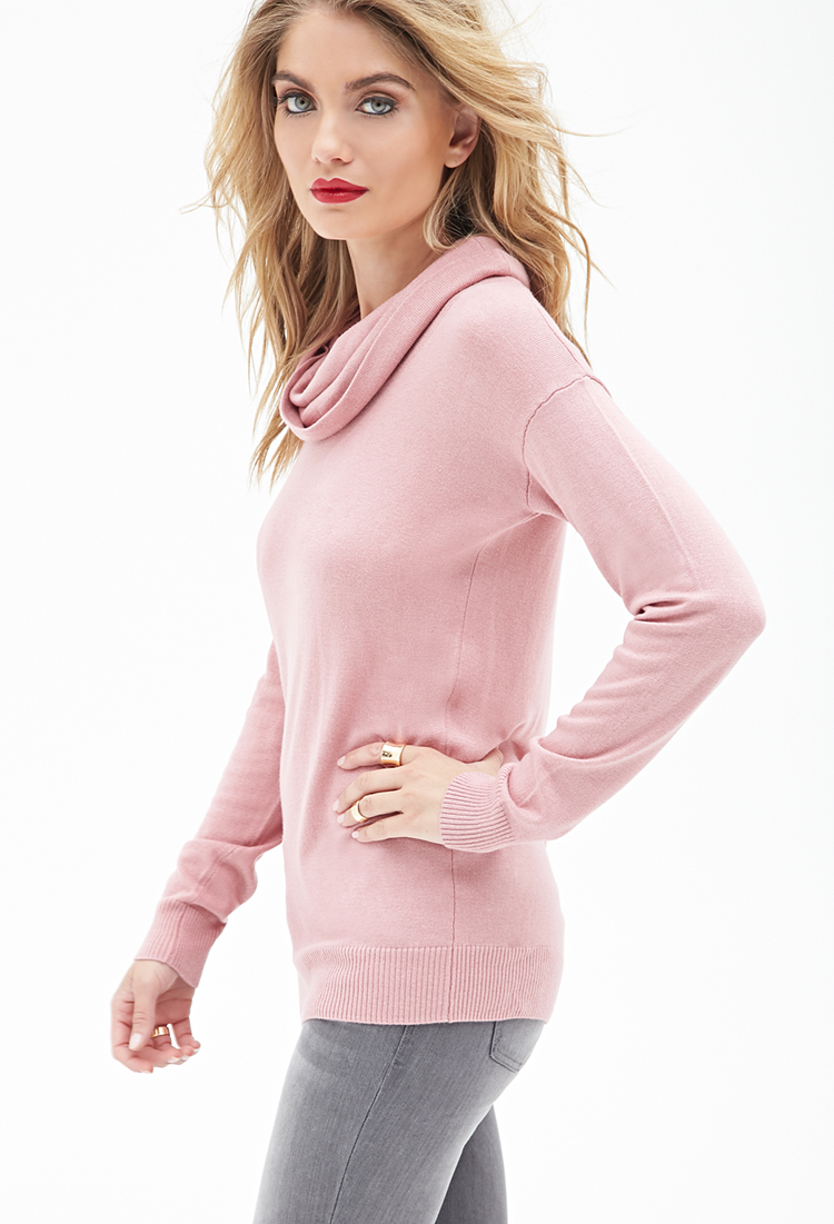 Forever 21 Cowl Neck Sweater in Pink | Lyst