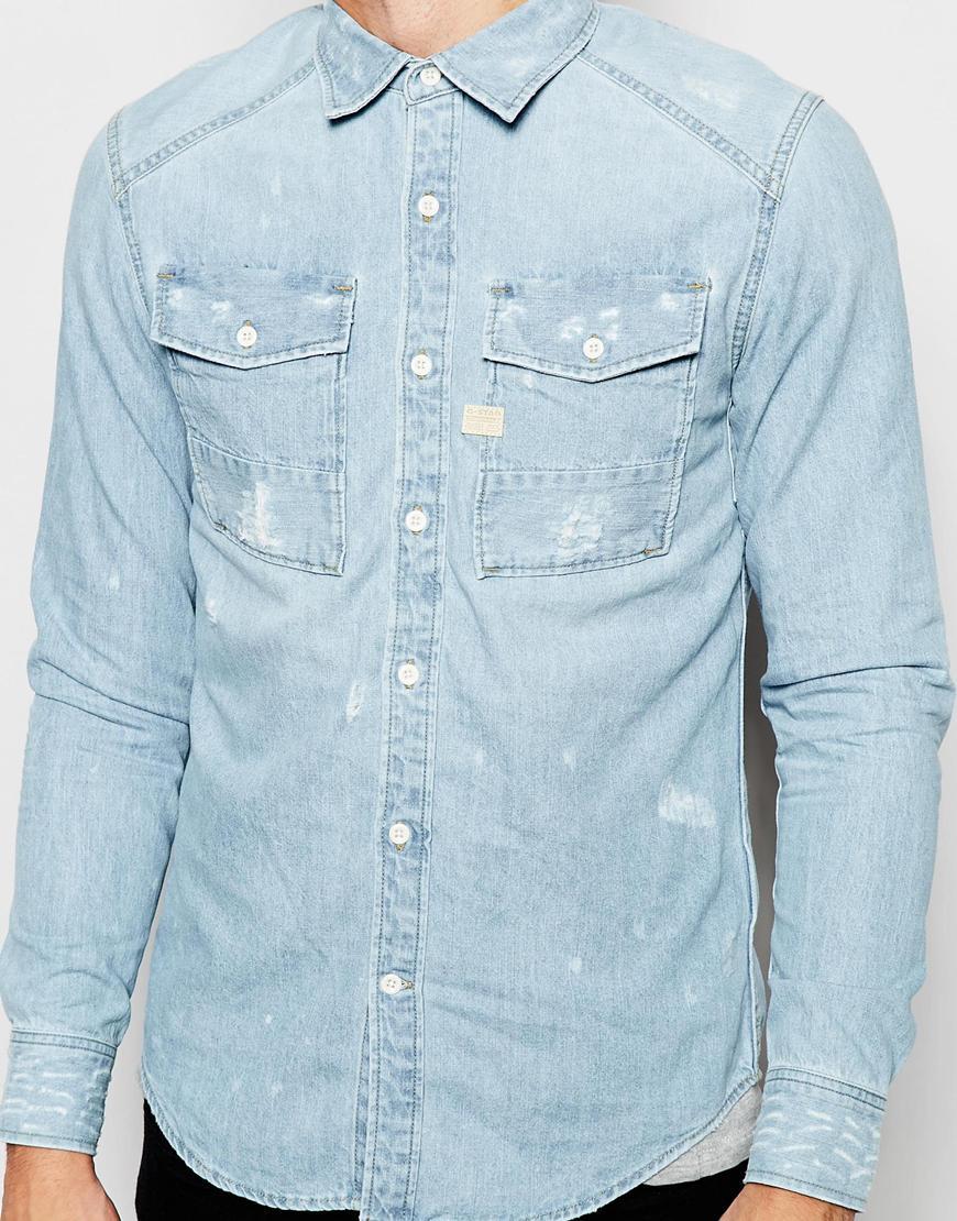 c719ae41cc4 Lyst - G-Star RAW Denim Shirt Coban Light Aged Restored 41 in Blue ...