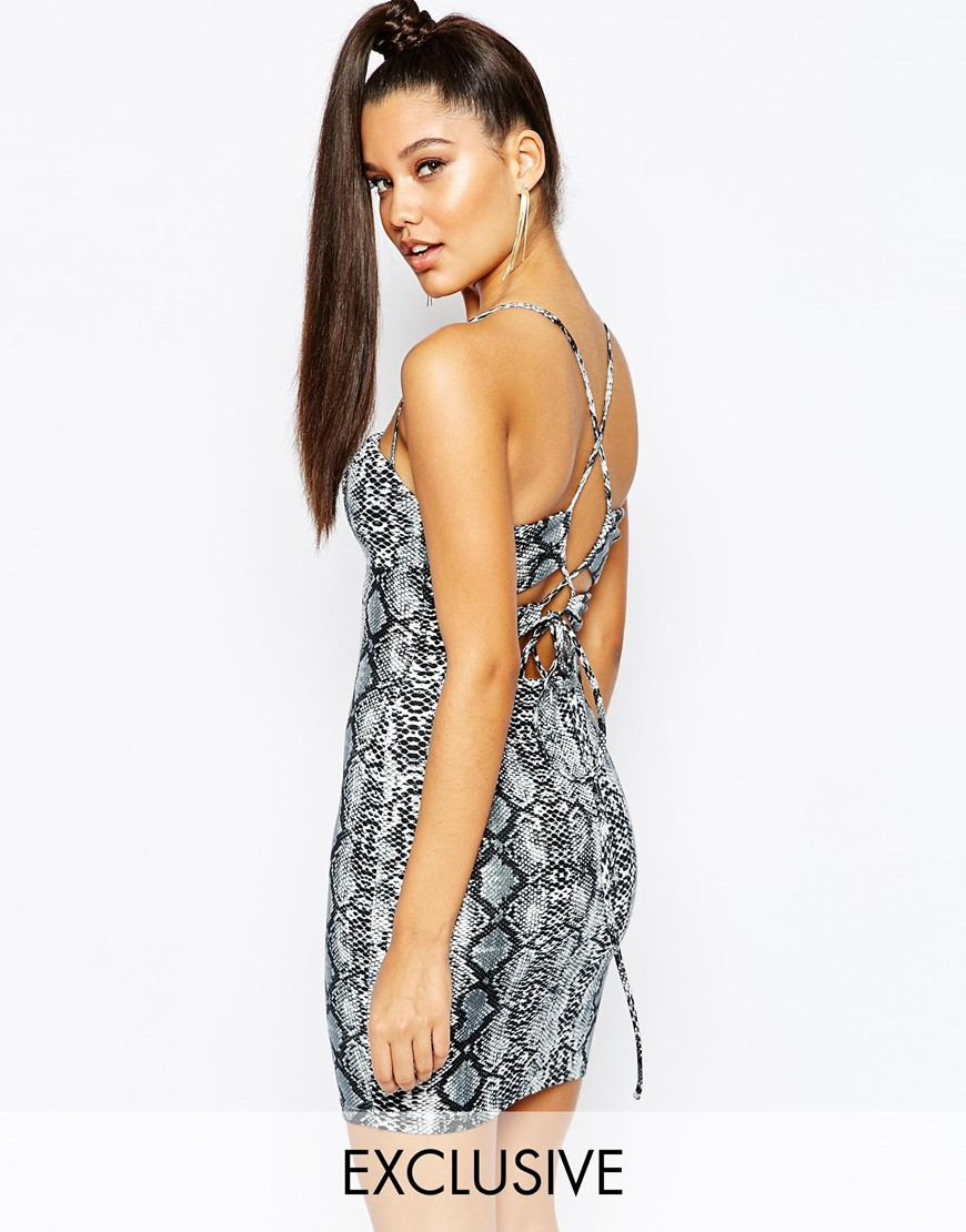 Lyst naanaa bodycon dress with strappy tie back detail in blue gallery ombrellifo Choice Image