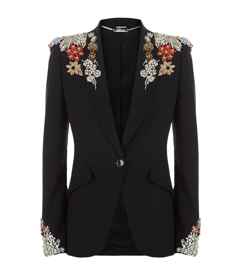 Alexander Embellished McQueen Jacket Lyst Crepe rgnr5AH8