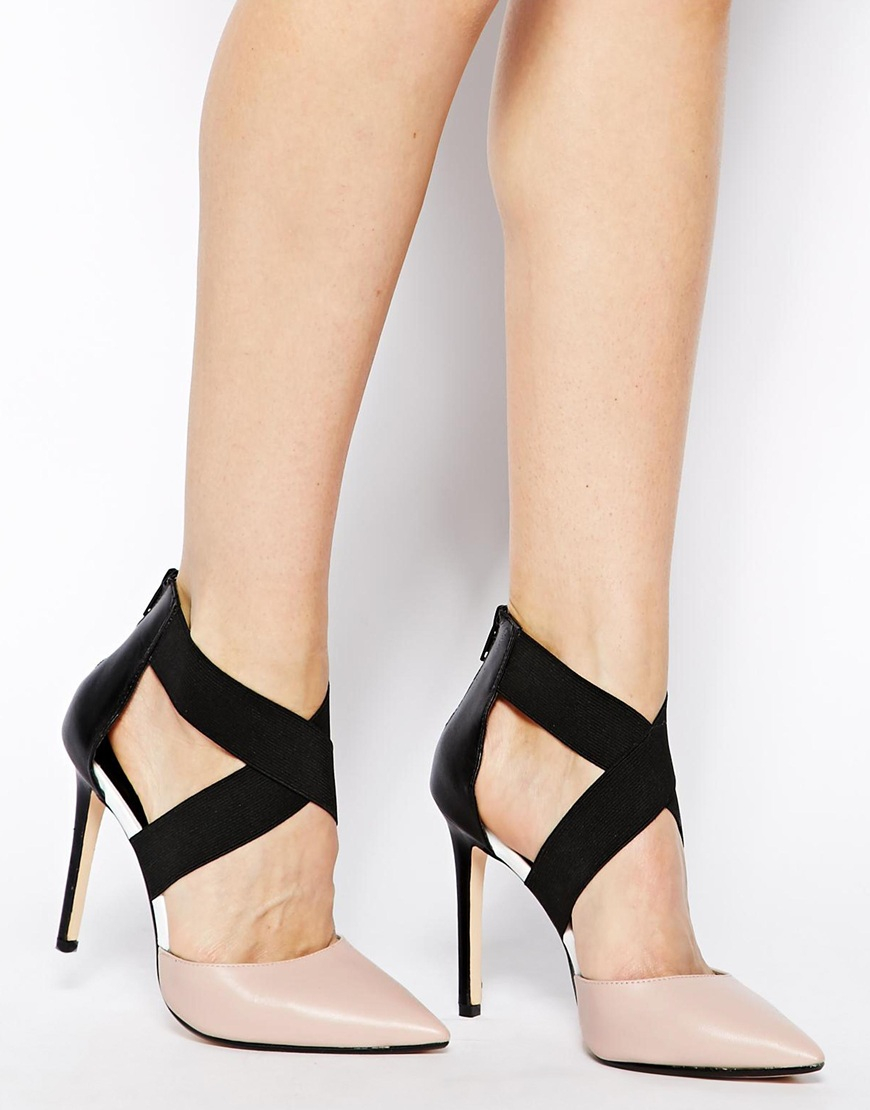 Dune Demie Nude Pointed Strappy Court Shoes in Black | Lyst