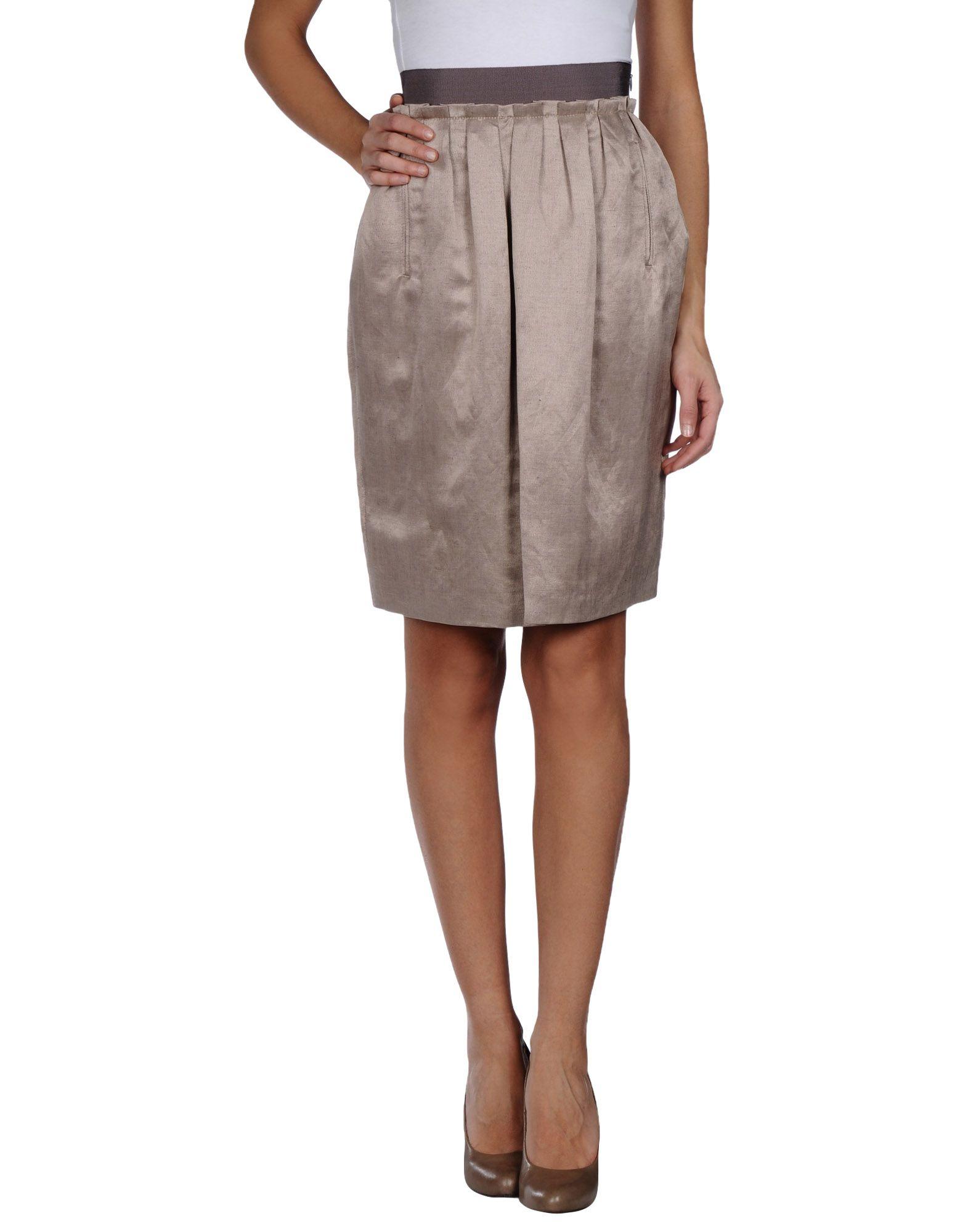 tonello knee length skirt in brown lyst