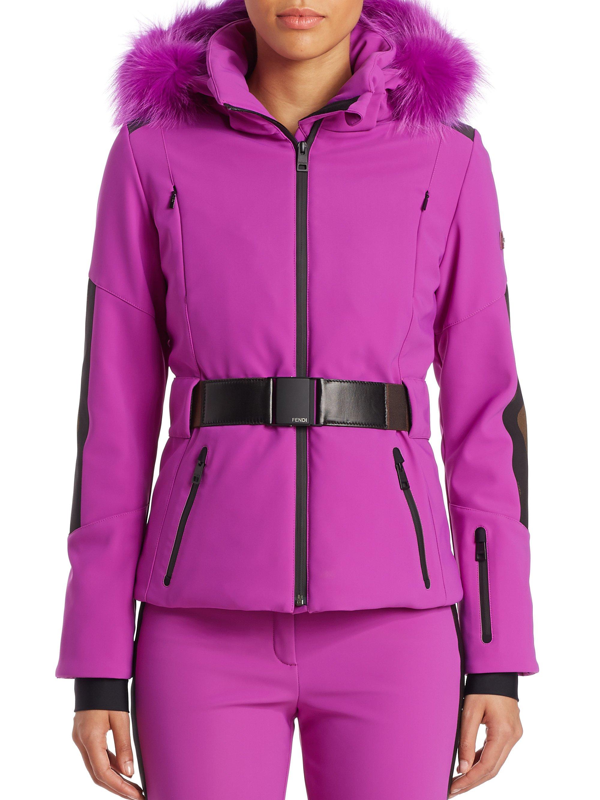 Lyst - Fendi Pequin Fur-trim Ski Jacket in Purple 6f6f6272f