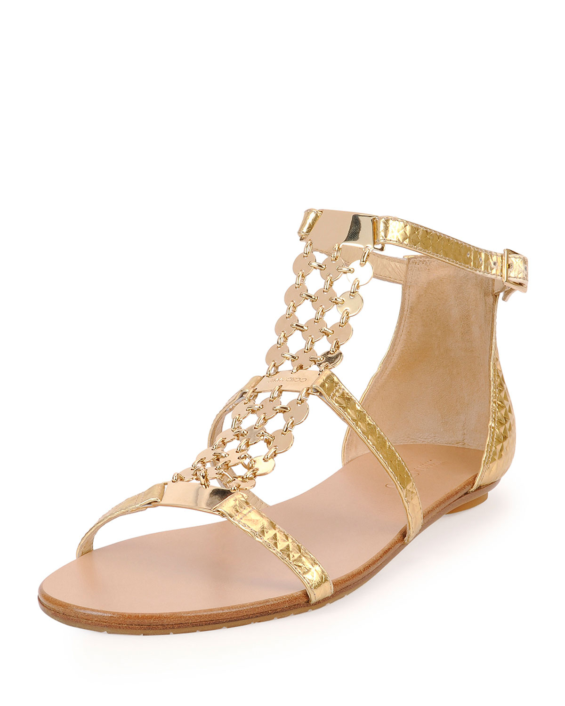 3b5e5440cc56 ... clearance lyst jimmy choo metallic leather sandal in metallic 43df0  634c6