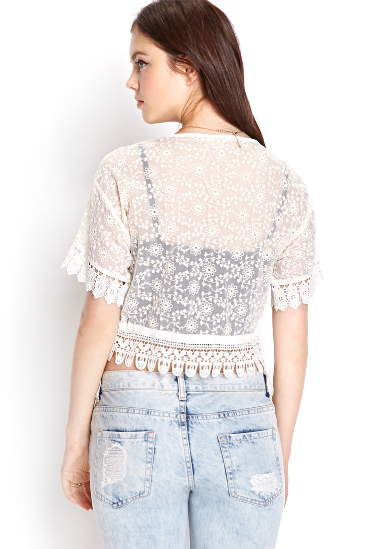 Forever 21 Crochet Lace Cardigan in White | Lyst