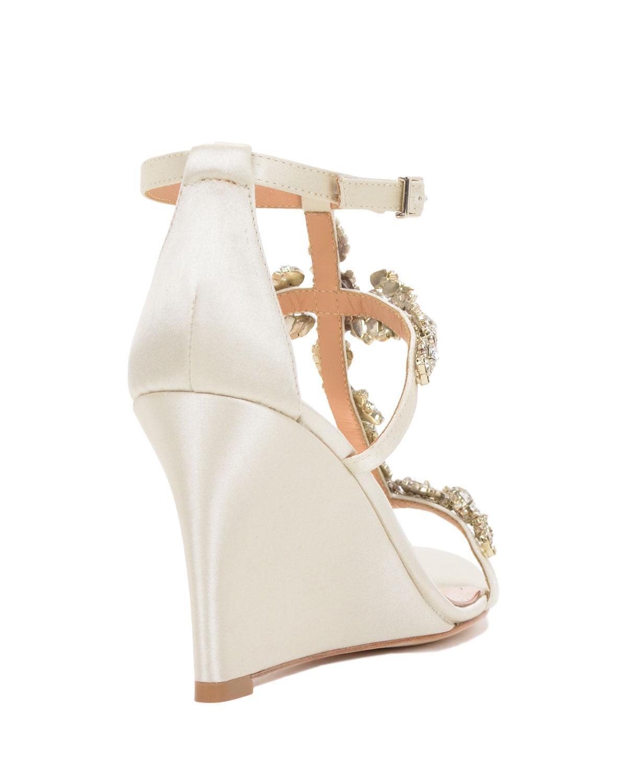 badgley mischka strappy wedge evening shoe in