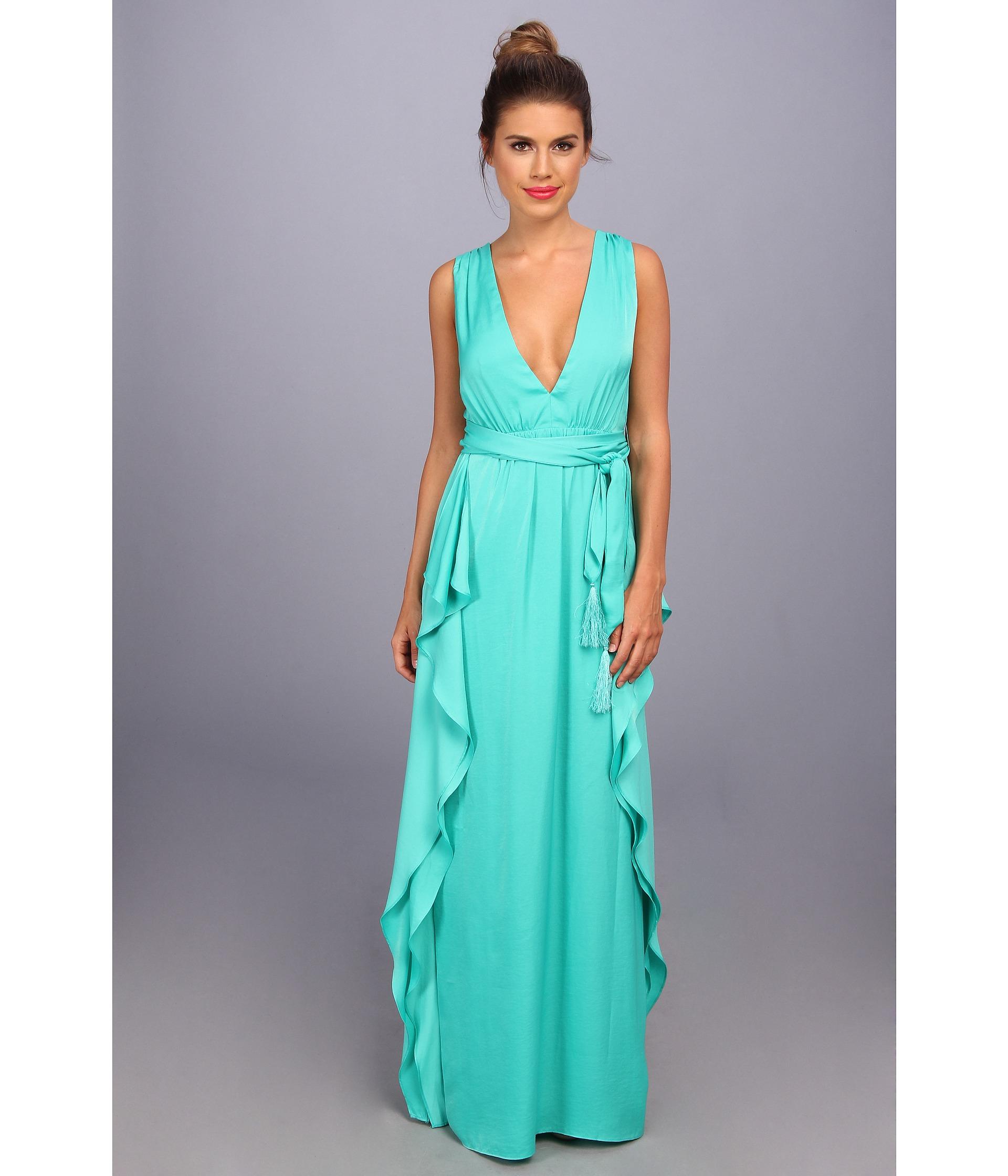 Lyst - Bcbgmaxazria Suzanne Flutter Gown in Blue