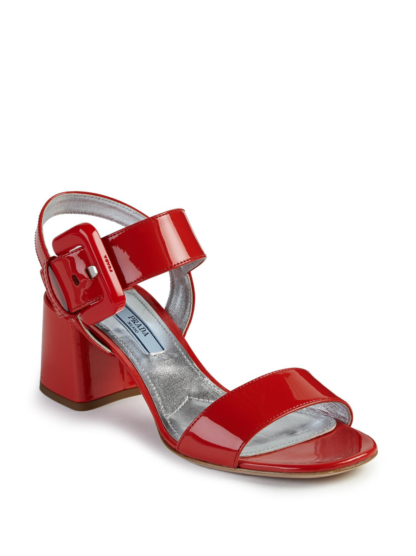 lyst prada patent leather midheel sandals in red