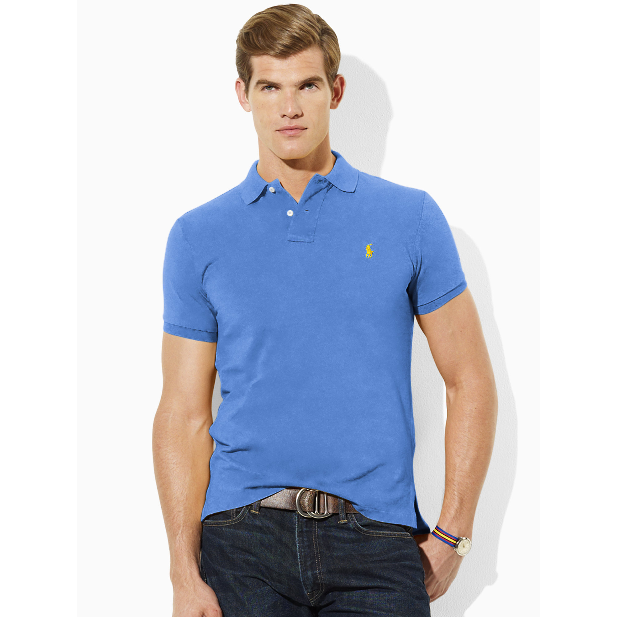 Lyst polo ralph lauren tall custom fit polo in blue for men for Big and tall custom polo shirts