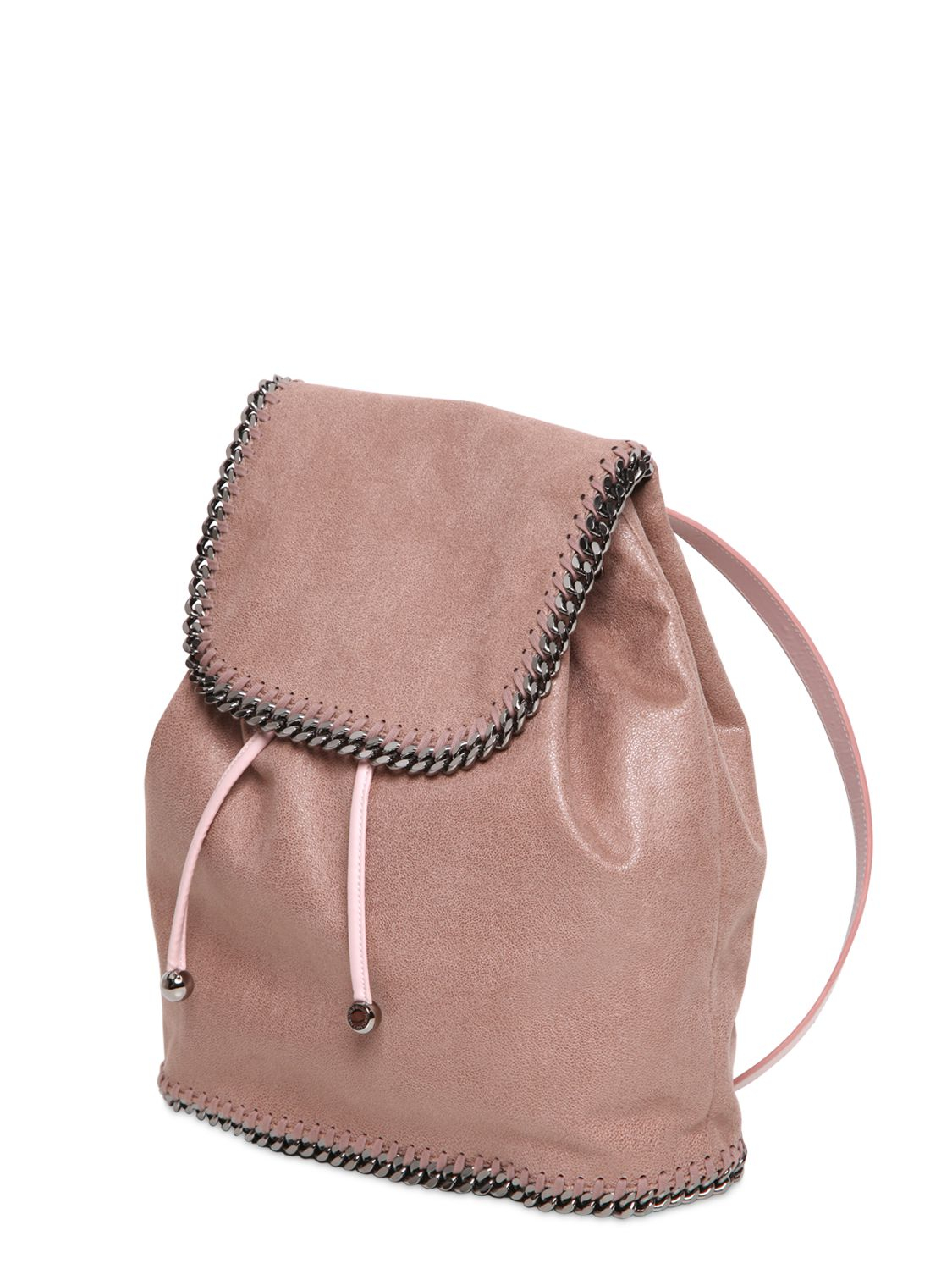 stella mccartney falabella shaggy faux deer backpack in pink lyst. Black Bedroom Furniture Sets. Home Design Ideas