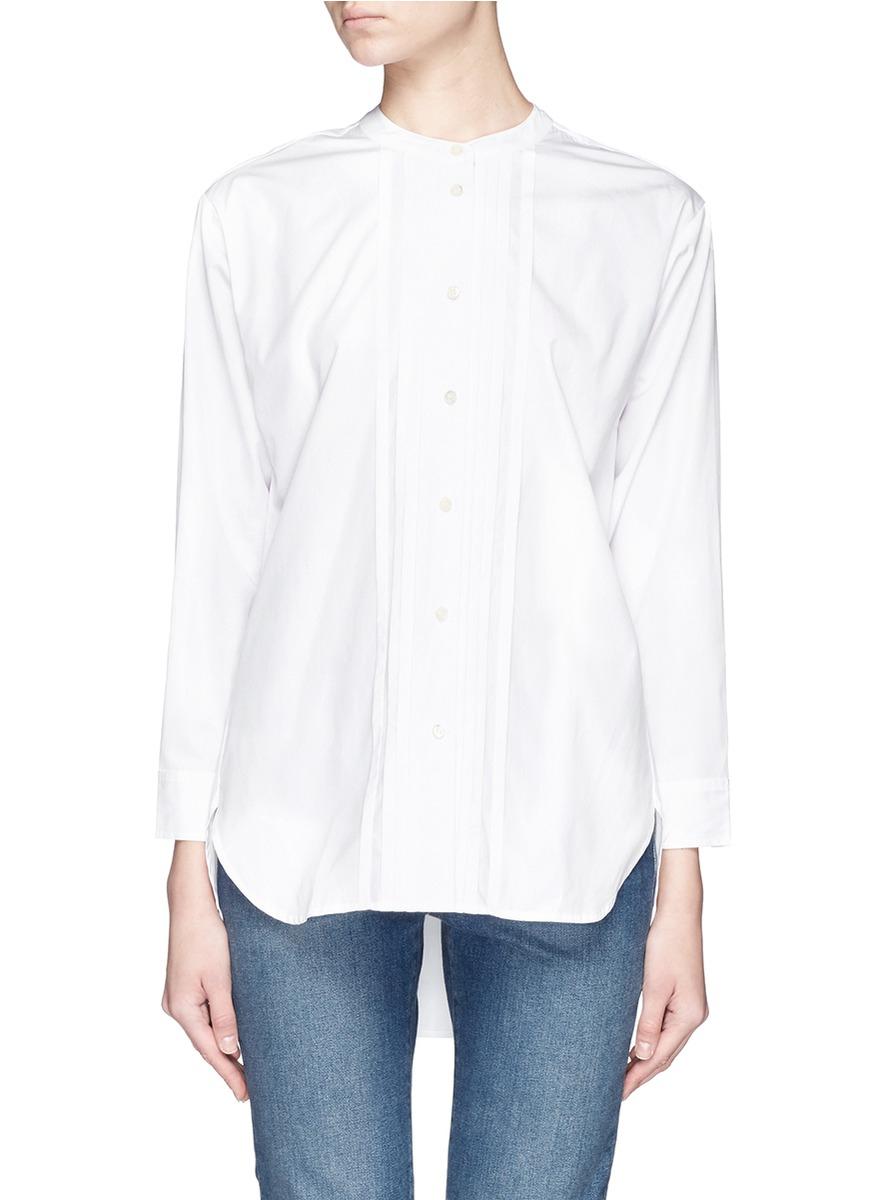 Lyst - J.Crew Thomas Mason® For Collarless Tuxedo Shirt in White c8900a2e2