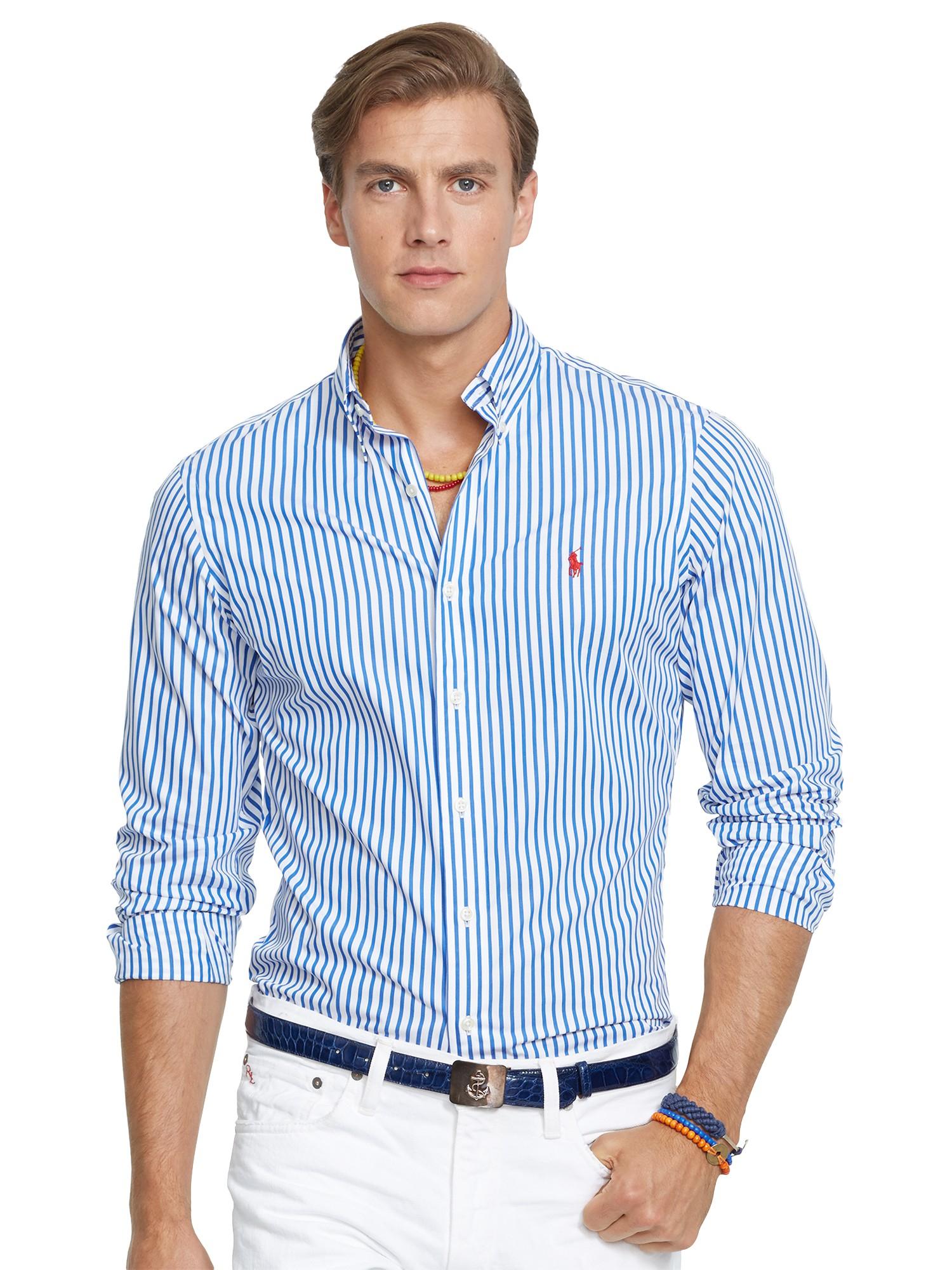 31338c9cf9 Polo Ralph Lauren Bengal Stripe Poplin Shirt in Blue for Men - Lyst