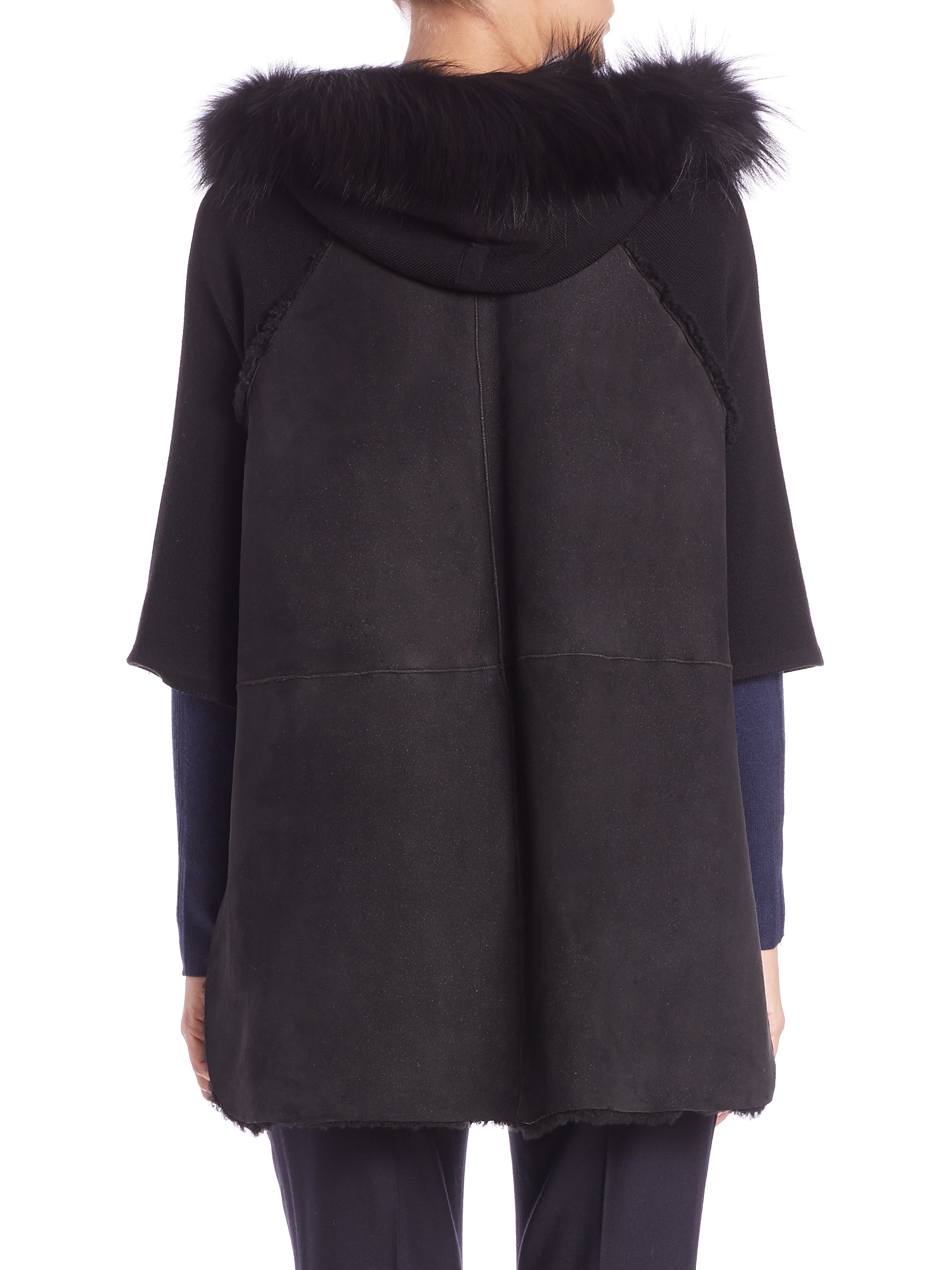 Elie tahari Joey Fur-trimmed Shearling Cape Jacket in Black | Lyst