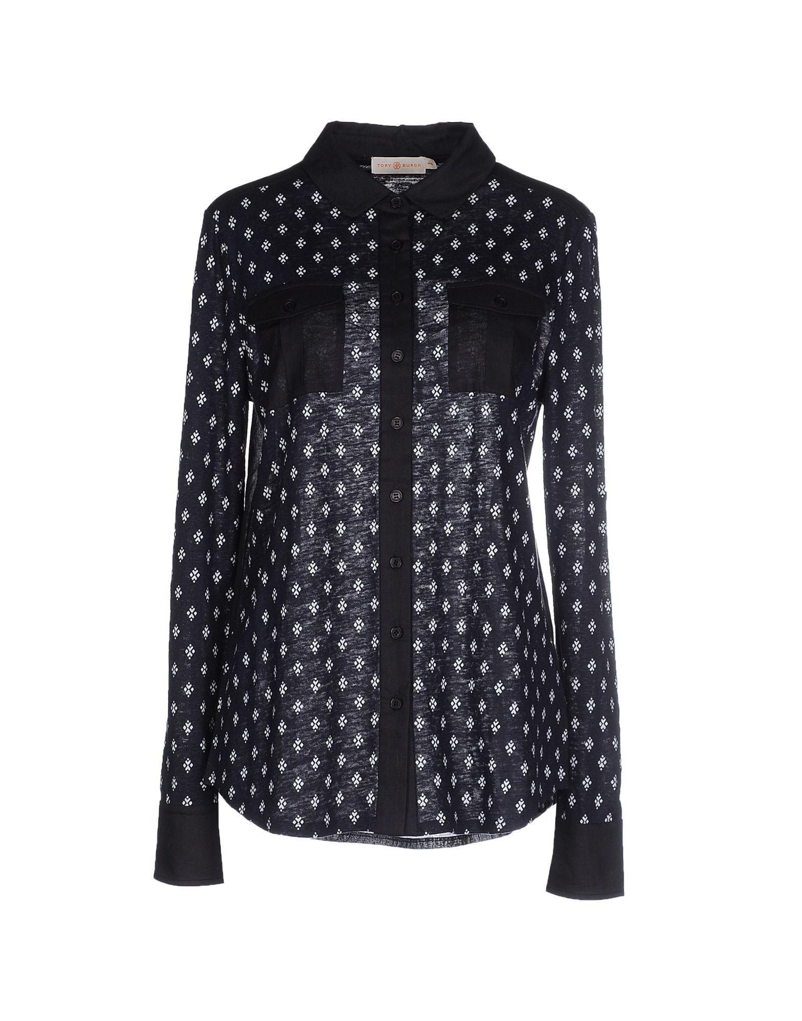 Lyst tory burch finlay button down shirt tory navy for Tory burch button down shirt