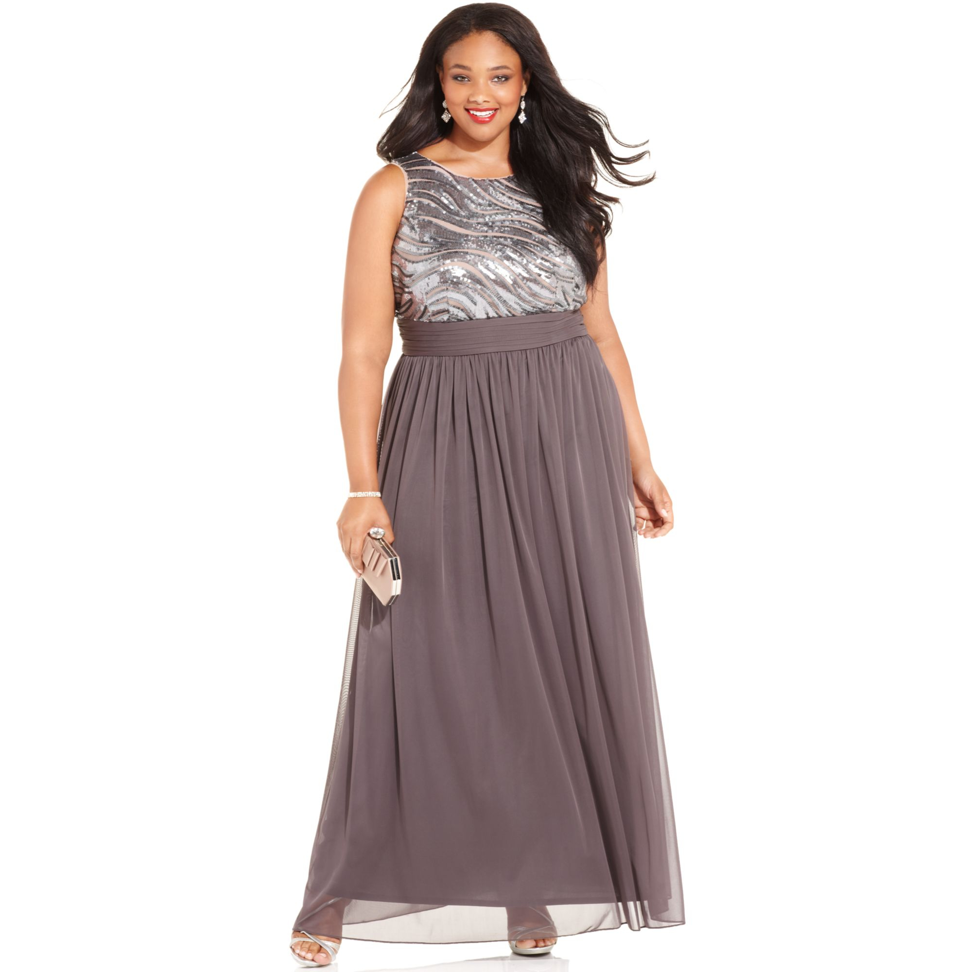 Lyst Betsy Adam Plus Size Sequin Chiffon Gown In Gray