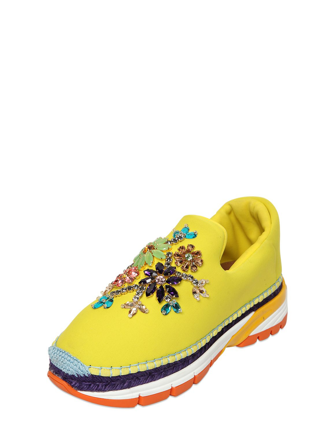 dolce gabbana 30mm jeweled neoprene sneakers in yellow. Black Bedroom Furniture Sets. Home Design Ideas