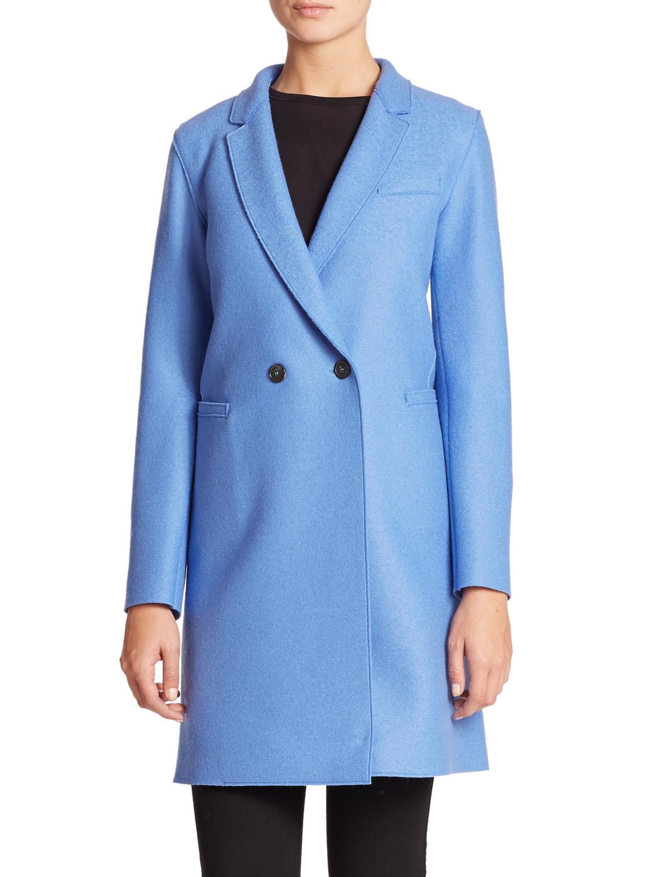 Lyst - Harris Wharf London Wool Double-breasted Coat in Blue e4447b8449ae1