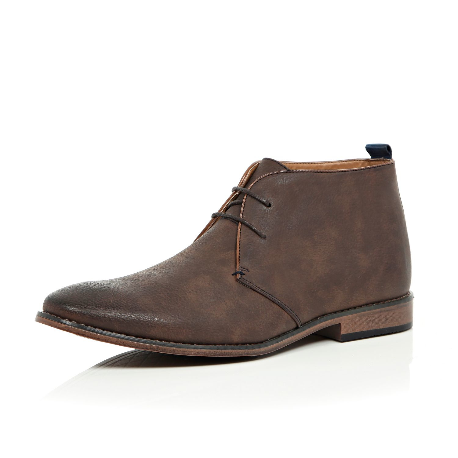 river island brown burnished lace up chukka boots in brown