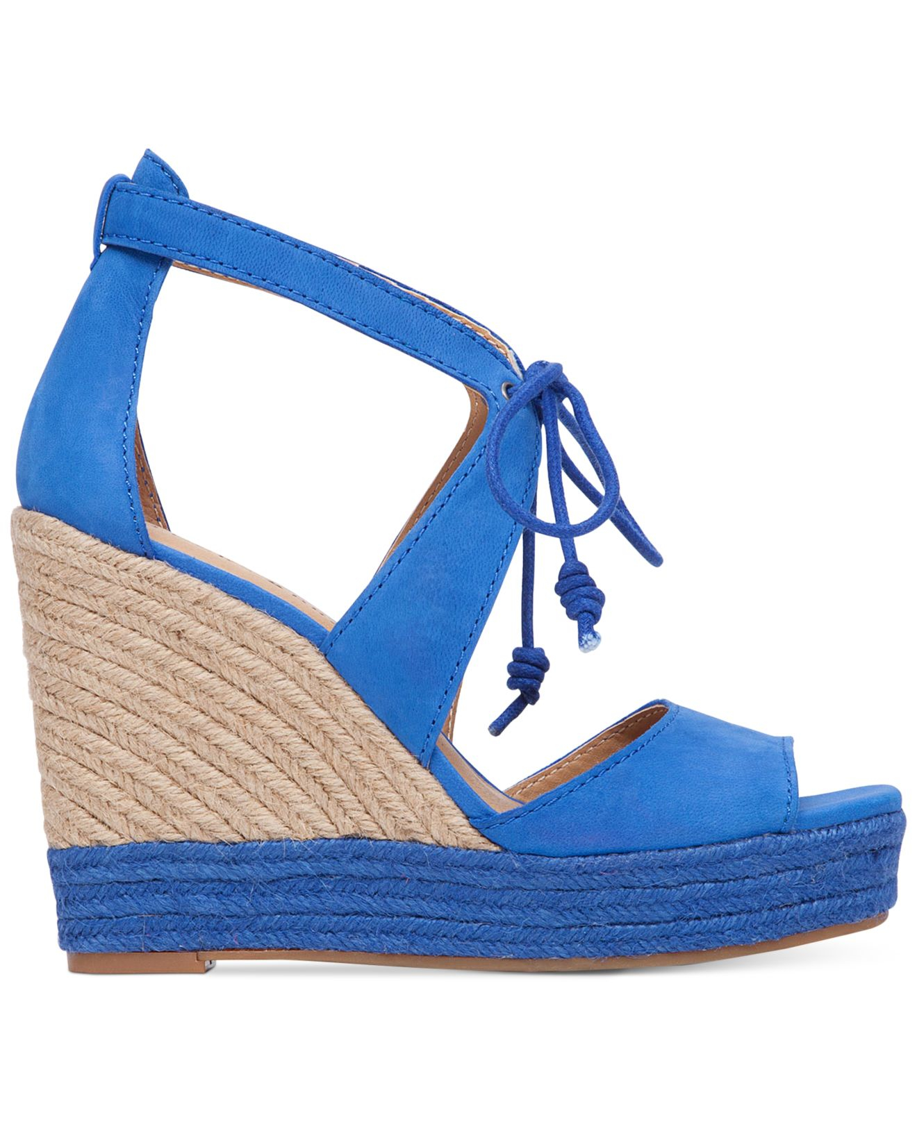 1d442e355cf Lyst - Lucky Brand Women s Listalia Wedge Lace-up Sandals in Blue
