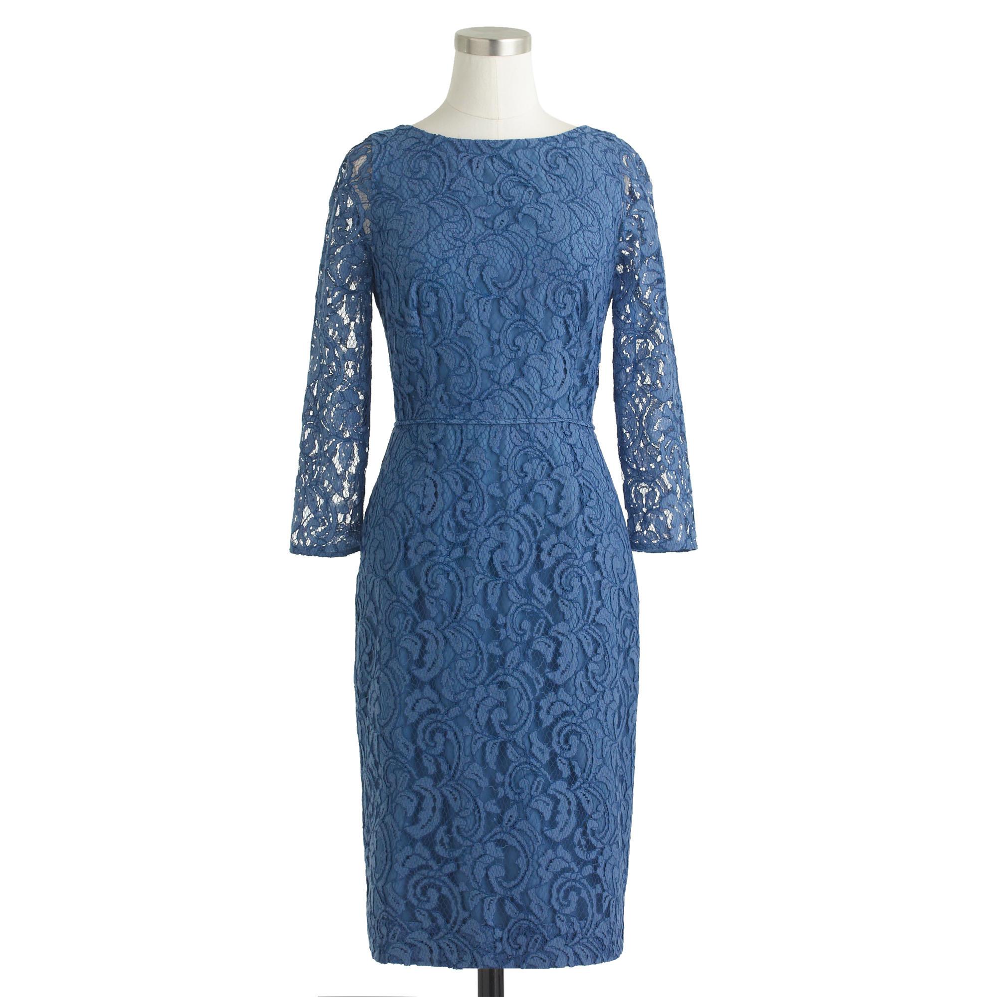 J.crew Petite Natalia Dress In Leavers Lace In Blue