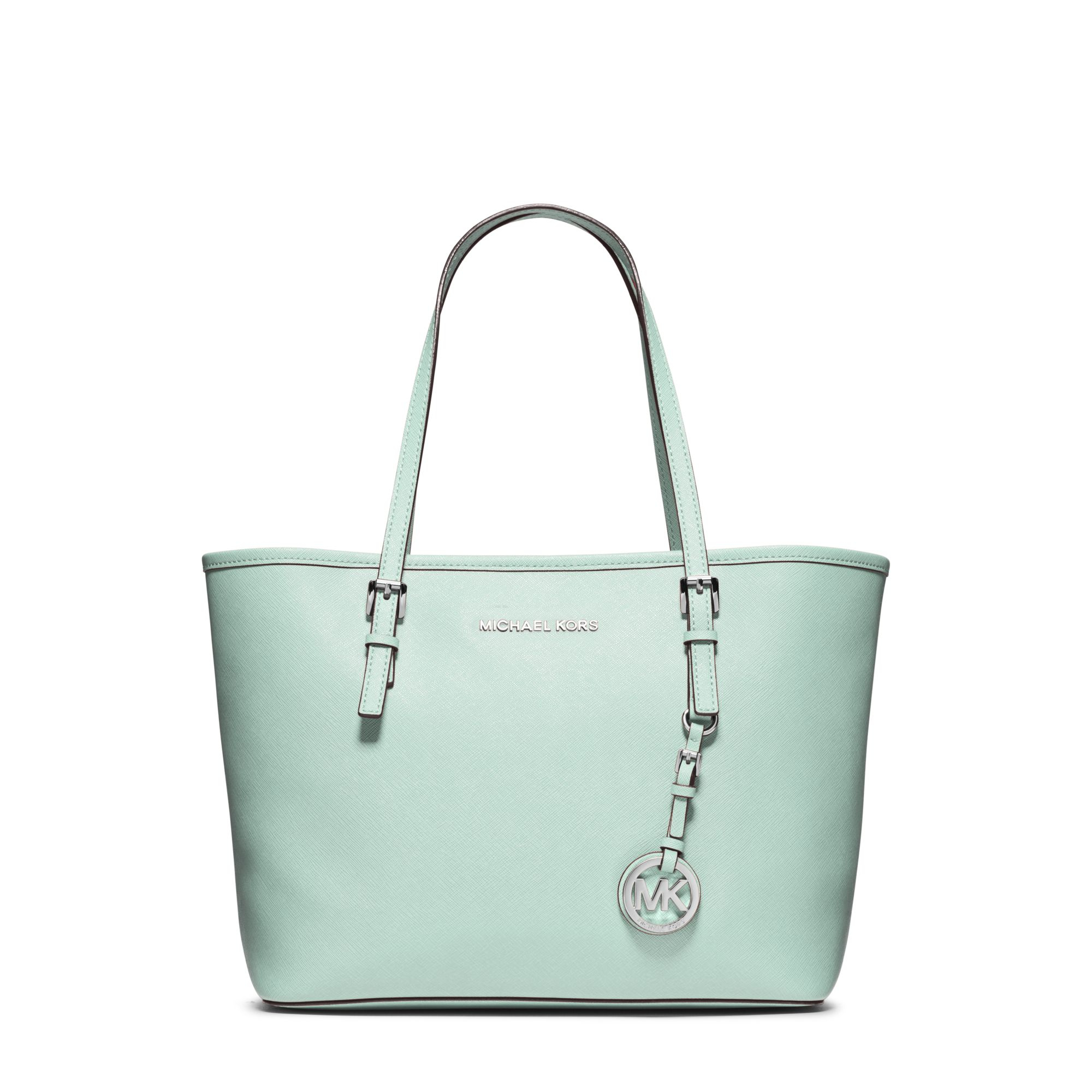 ... shopping lyst michael kors jet set travel small saffiano leather tote  in green 5ab20 cf272 1d50a74728