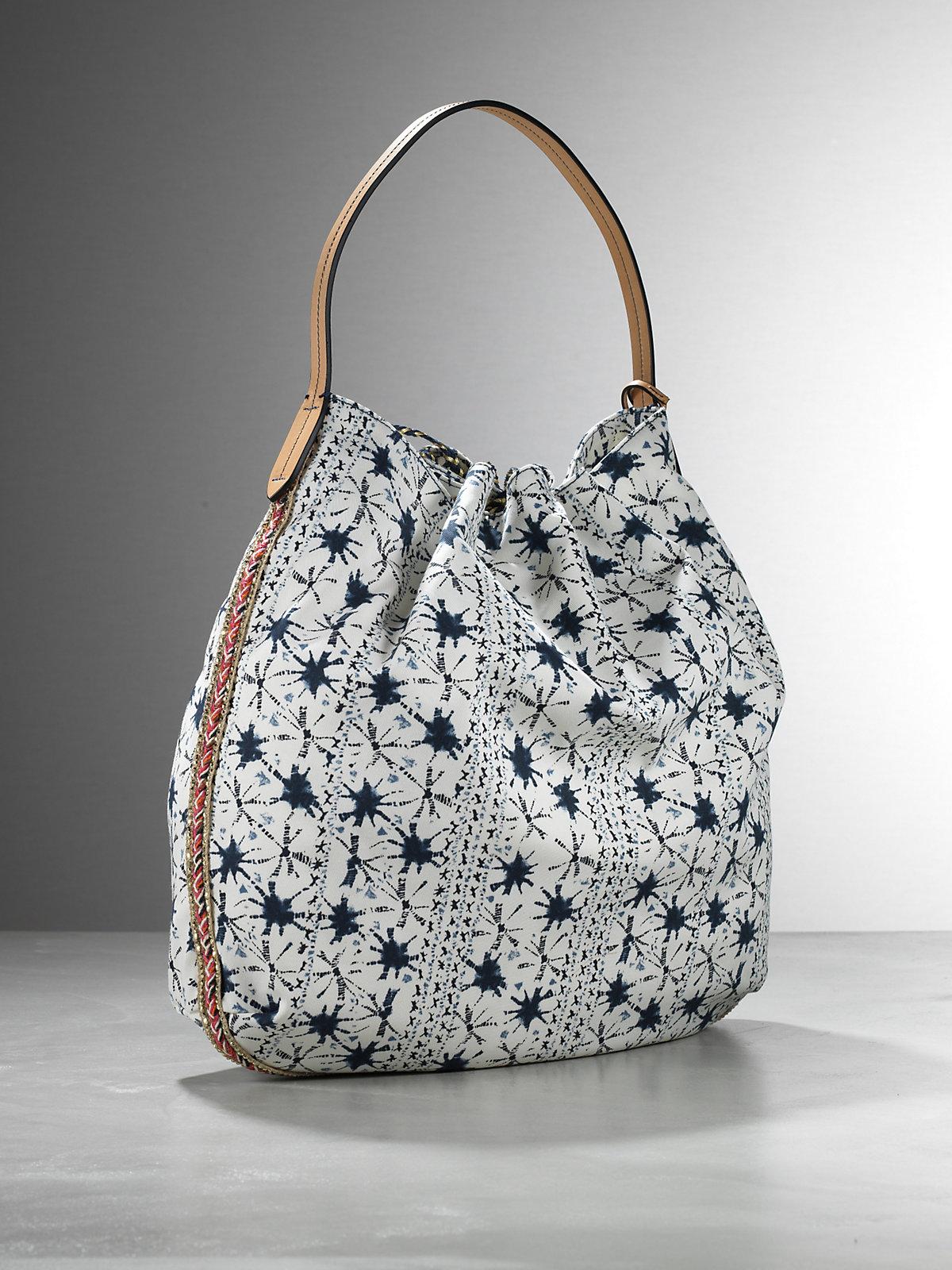 Patrizia Pepe Shopping Bag Pattern Fabric In Blue Blue