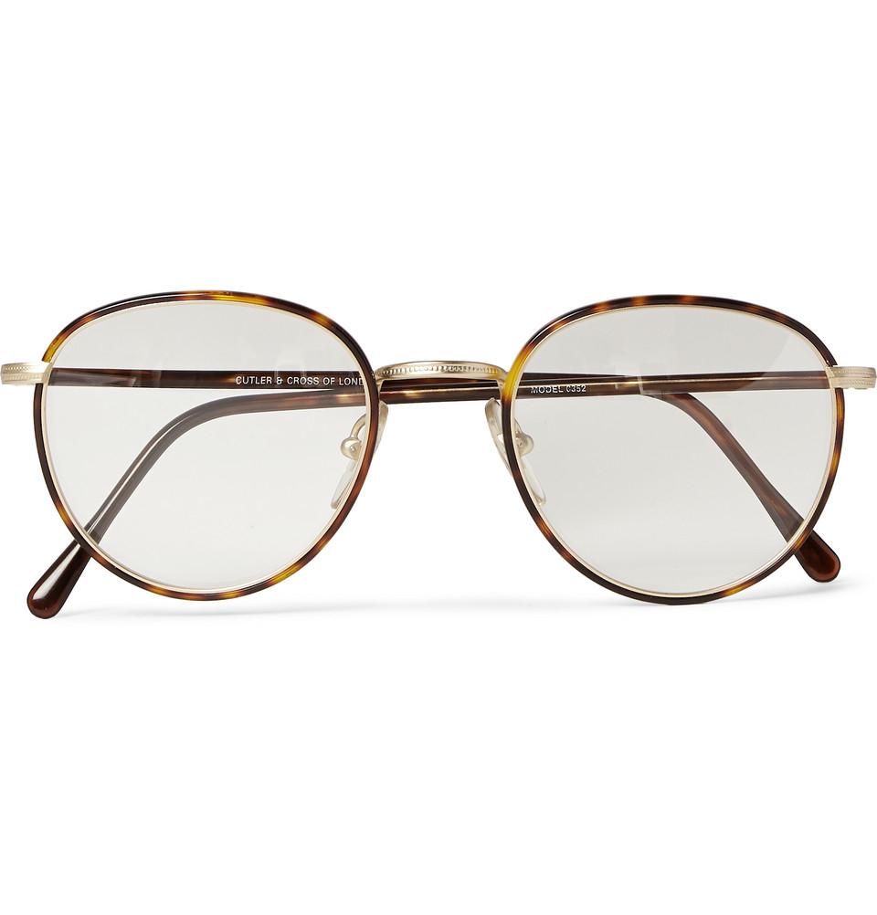 Acetate In Glasses Frame : Cutler & gross Round-Frame Tortoiseshell Acetate Optical ...