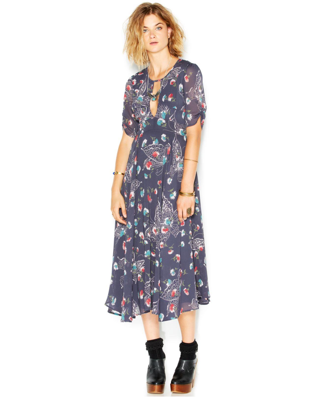 Free people Bonnie Short-Sleeve Cutout Printed Midi Dress ...
