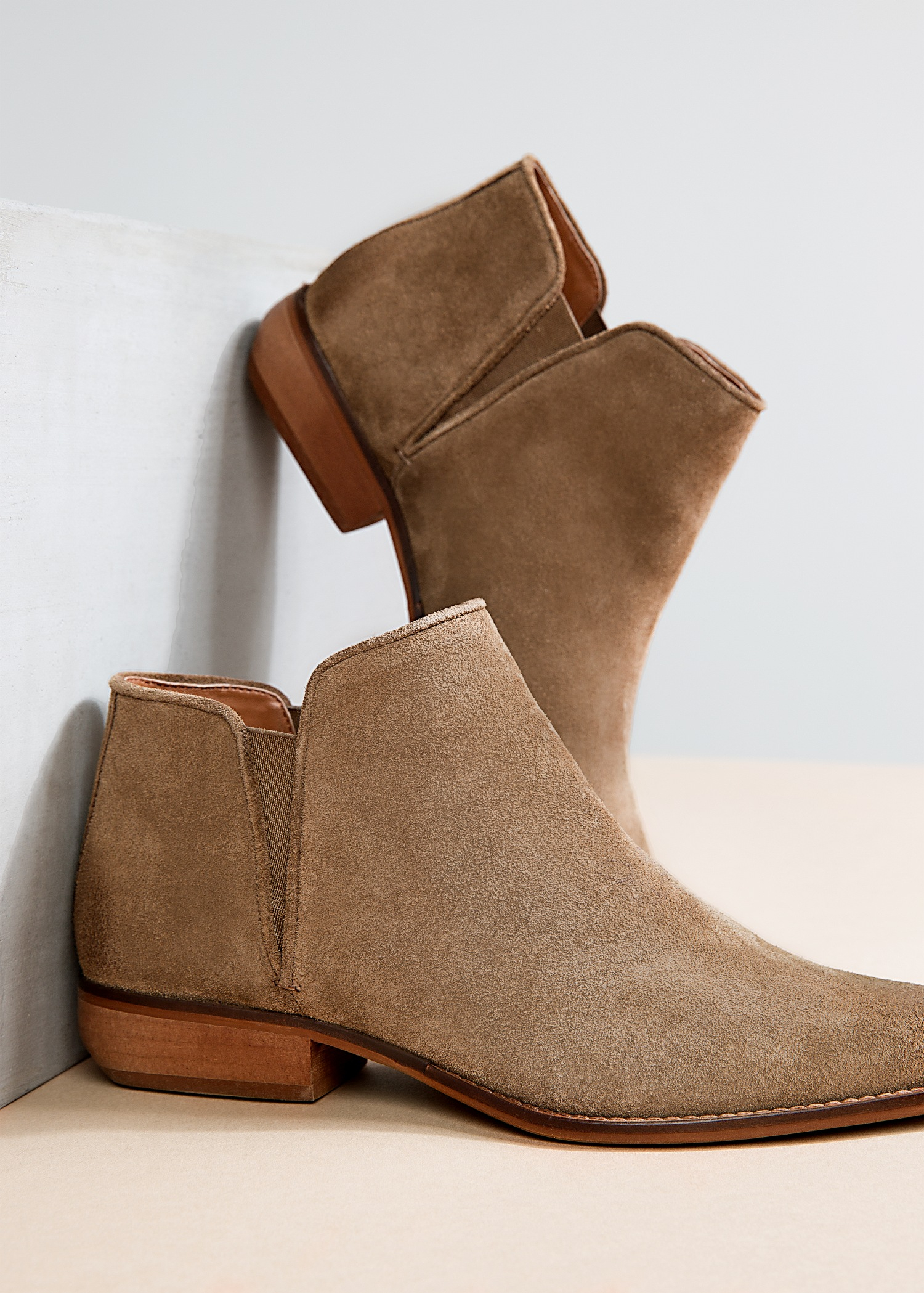 Mango Flat Suede Ankle Boots in Natural | Lyst