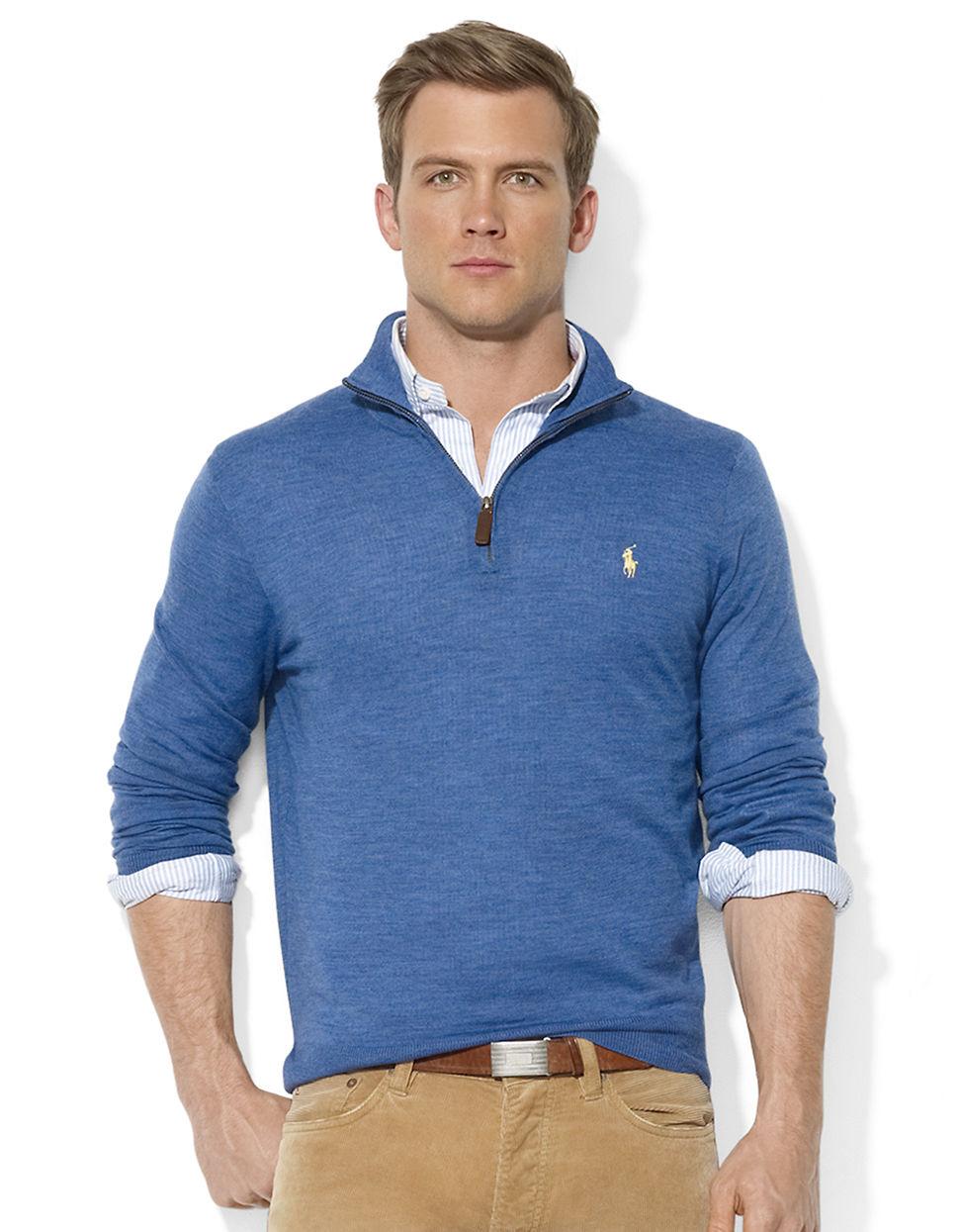 Polo ralph lauren Merino Wool Half-Zip Sweater in Blue for Men (Grey)