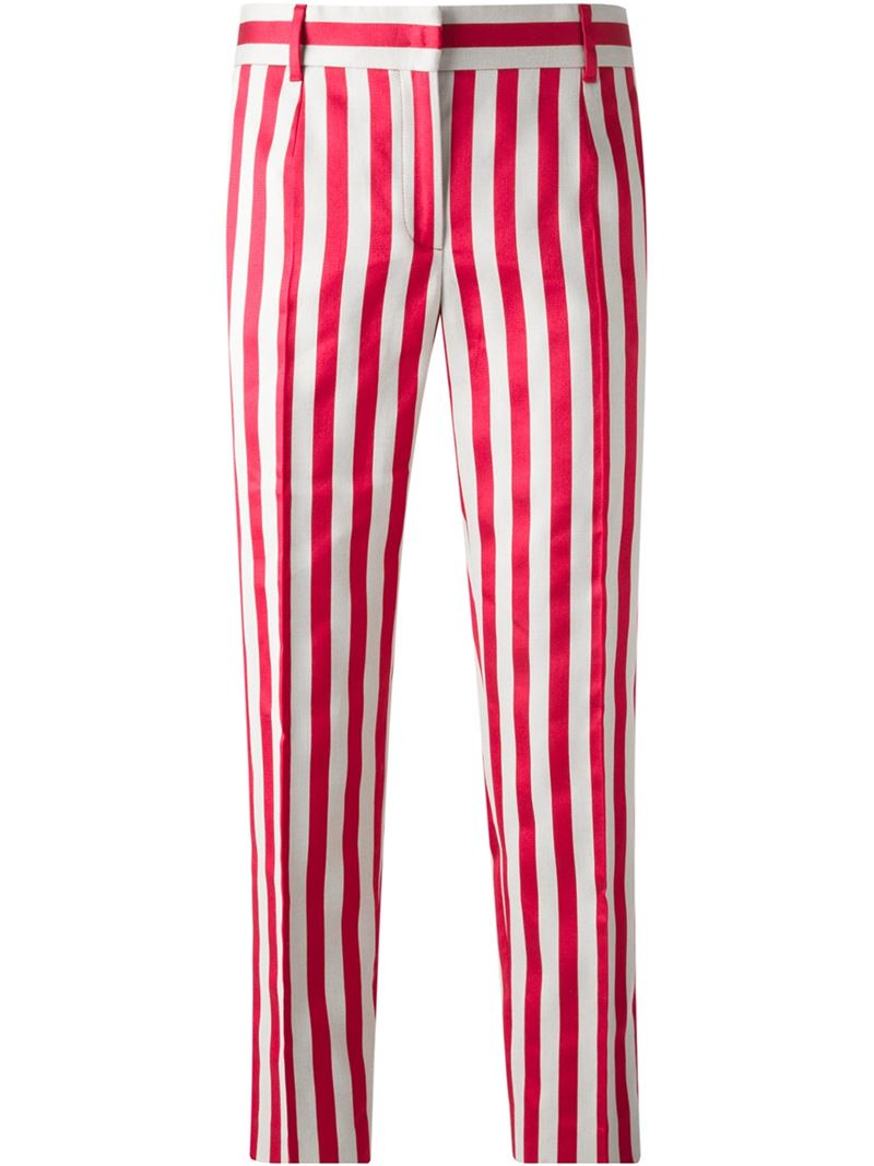 Dolce & gabbana Striped Trousers in Red
