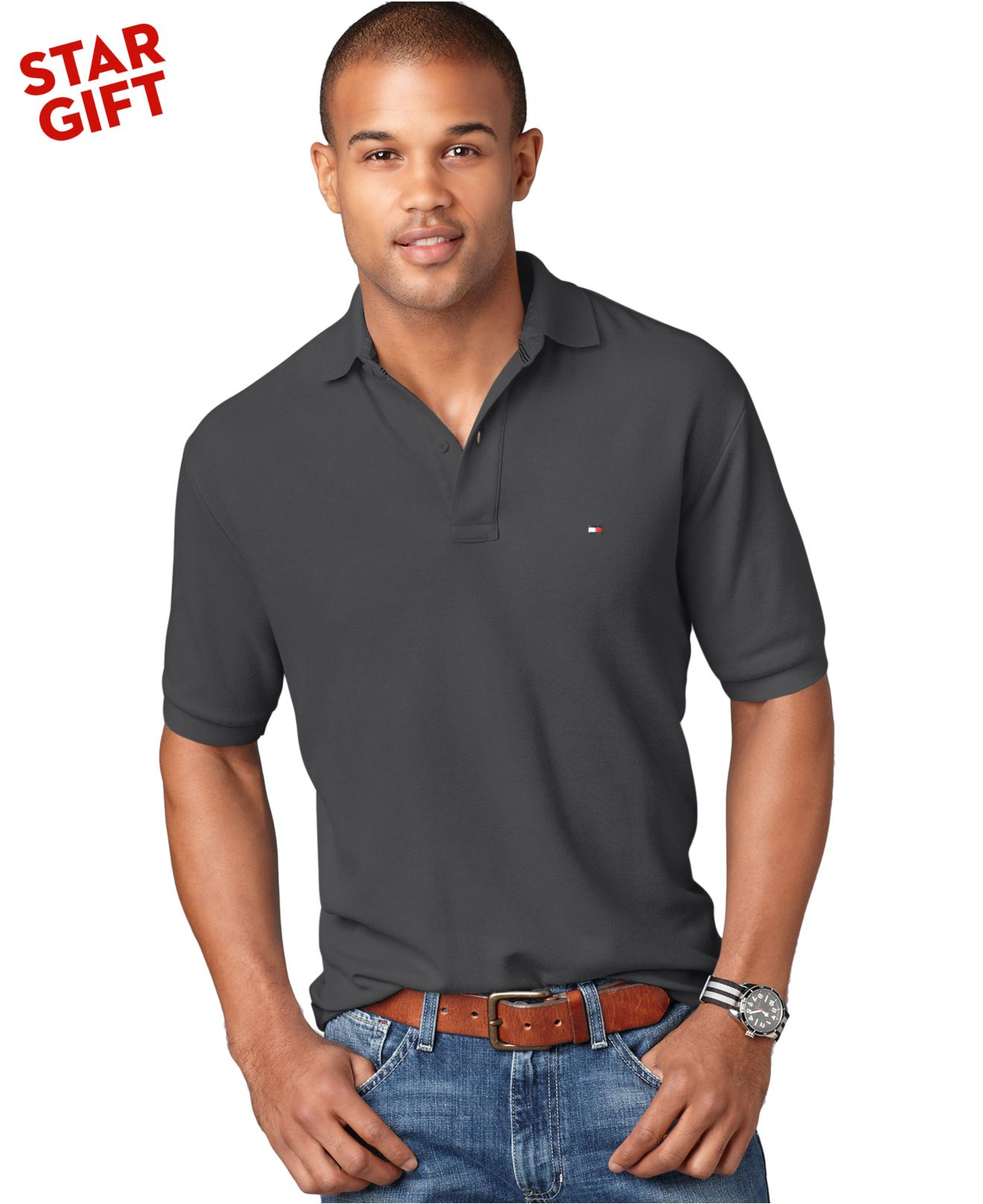 tommy hilfiger classic ivy polo shirt in gray for men lyst. Black Bedroom Furniture Sets. Home Design Ideas